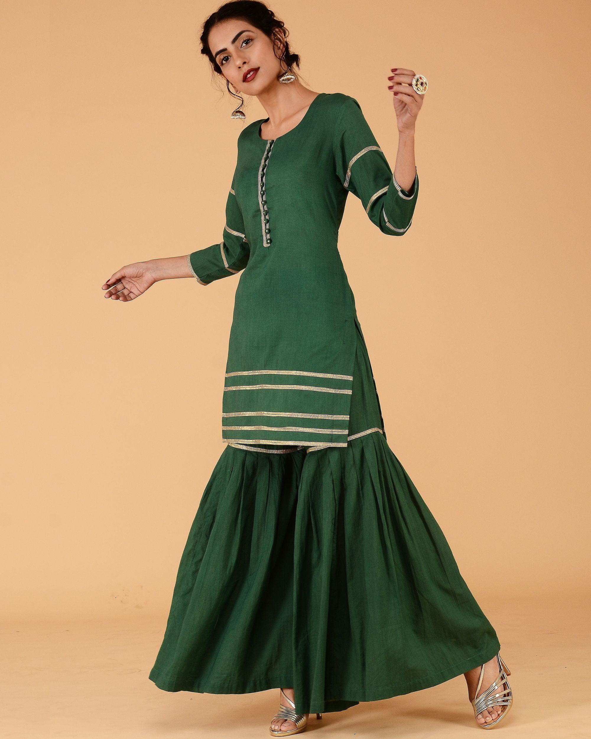 Green sharara set- set of two