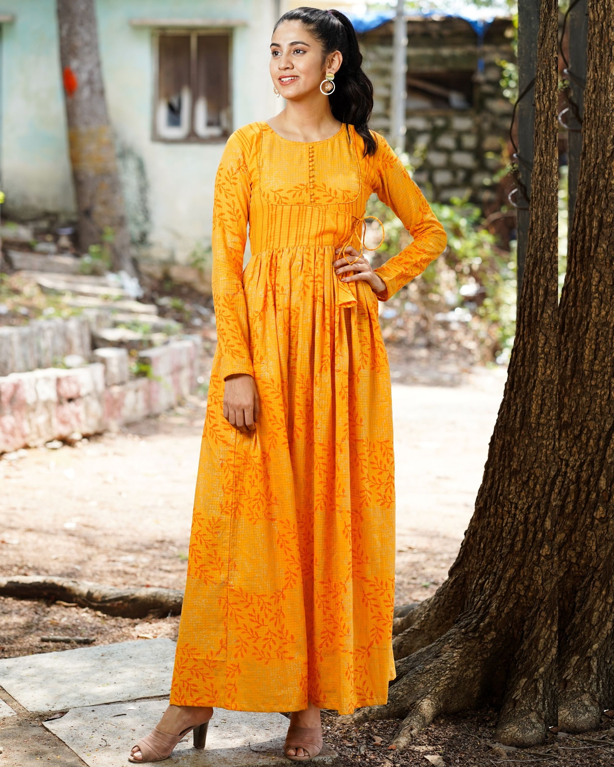 Orange printed long dress