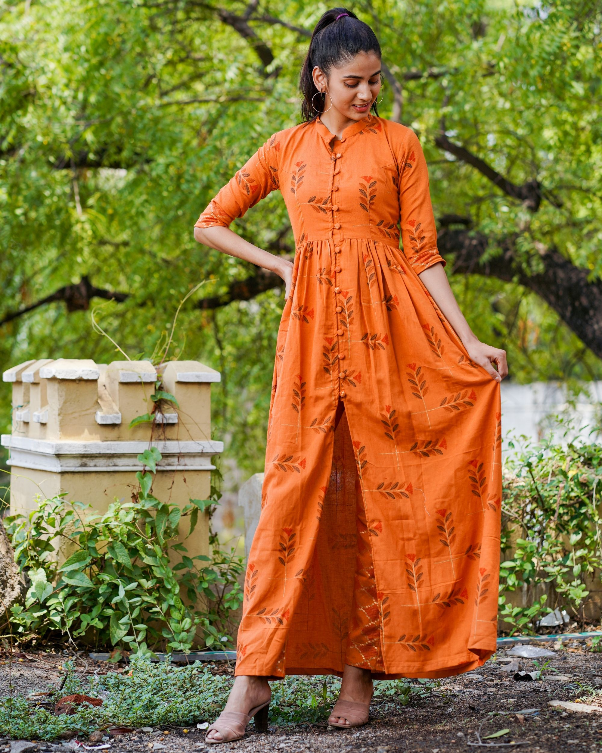 Rusted orange boota cape with pants - set of two