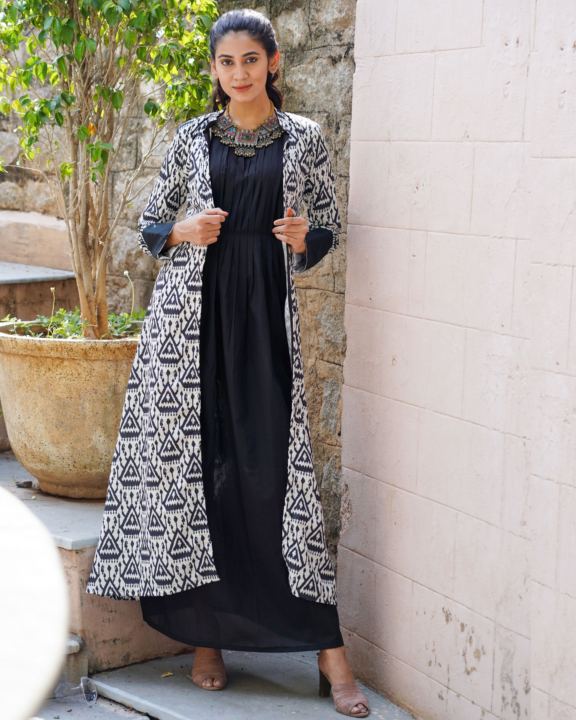 Black and white ikat printed jacket with dress - set of two