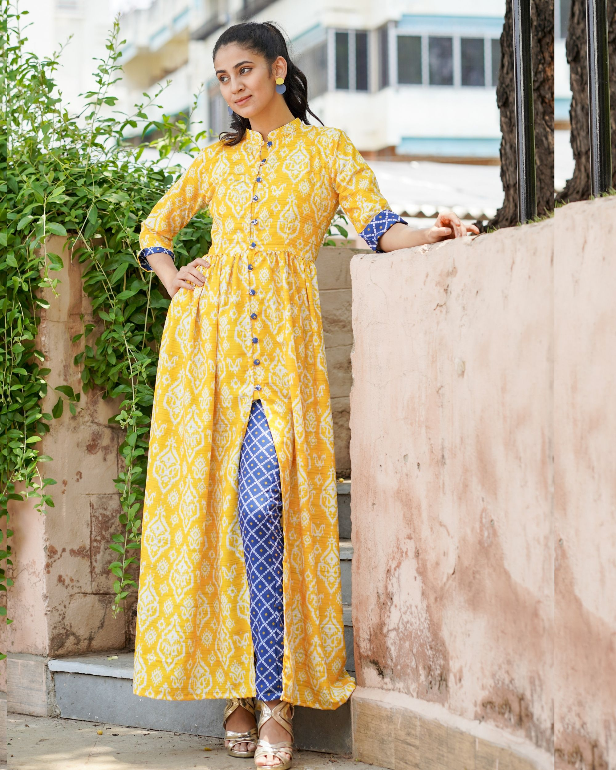 Yellow printed cape top with bandhani print pants - set of two