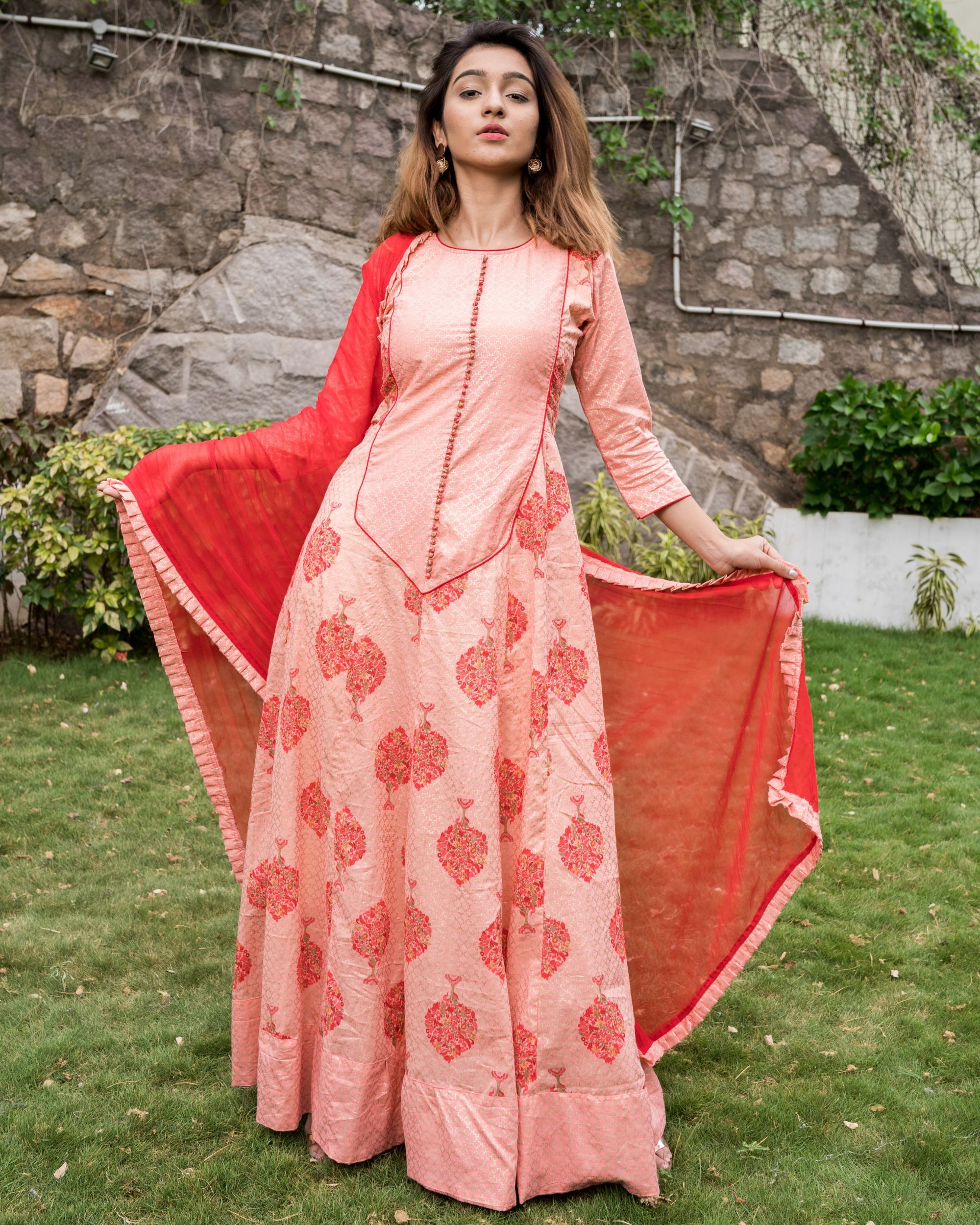 Pretty pink block printed dress with dupatta - set of two