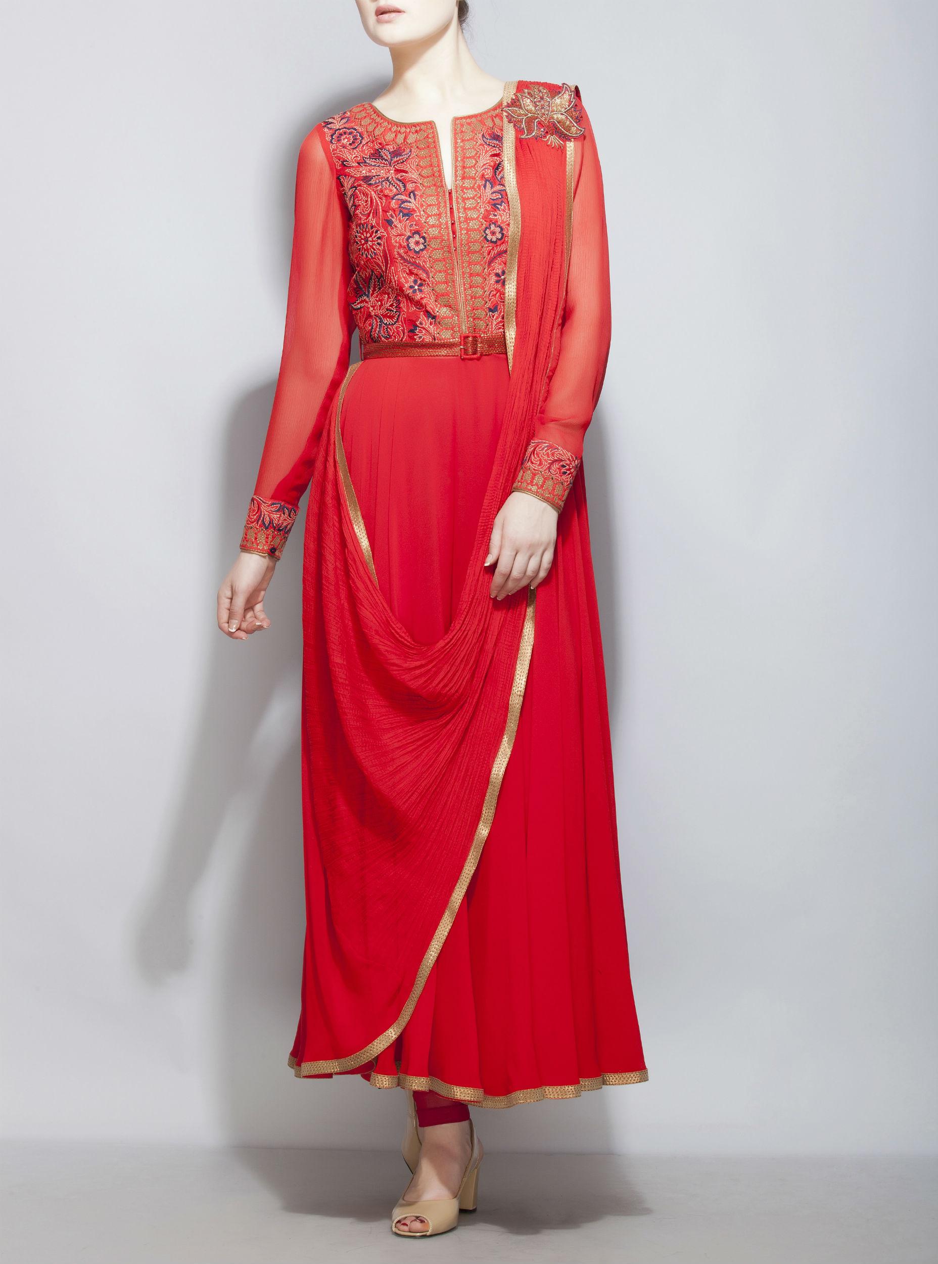 Red Draped Indo Western Dress By Divyam Mehta The Secret Label