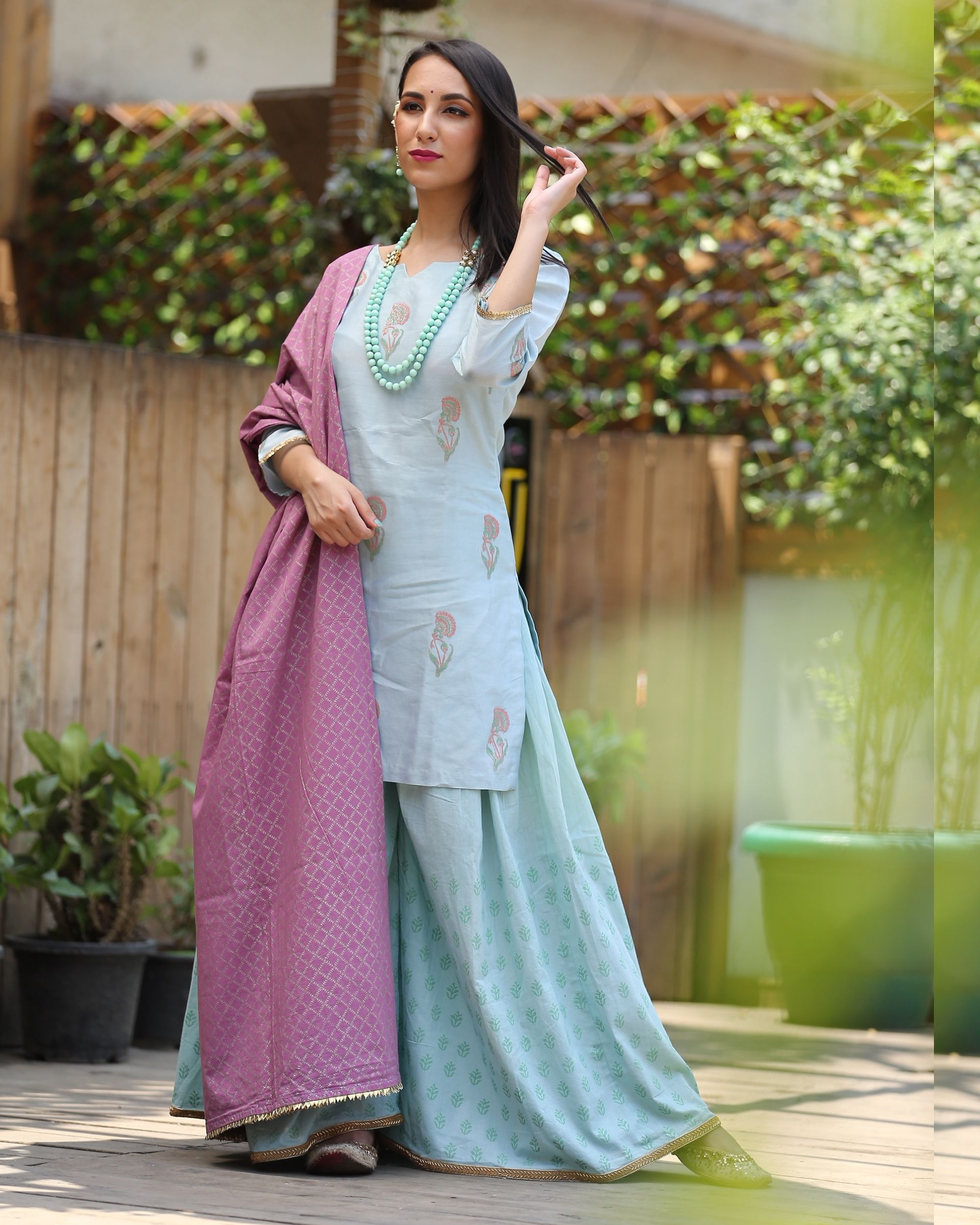 Mint shade gharara