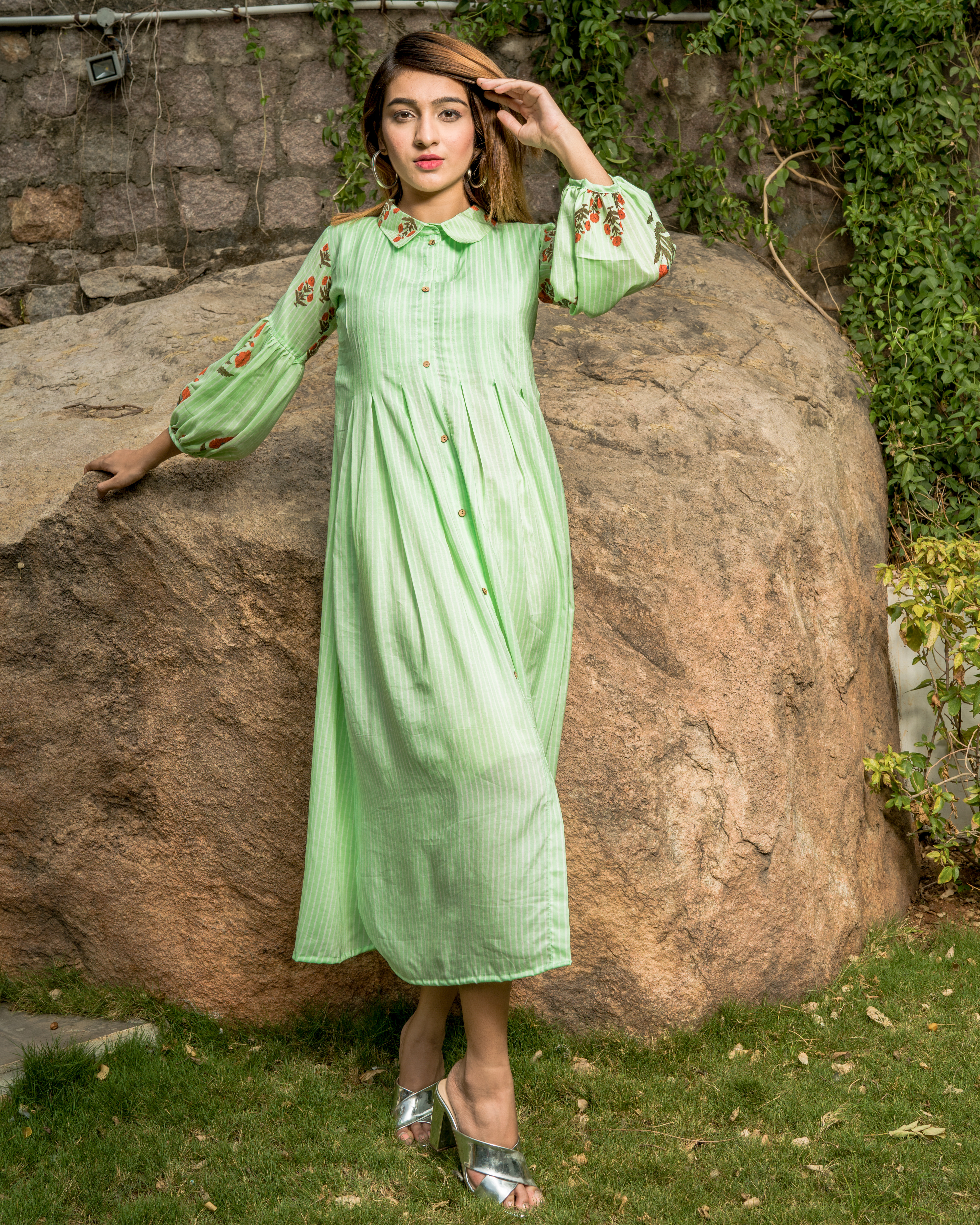 Self Striped Mint Green Box Pleated Dress with Printed Balloon Sleeves.