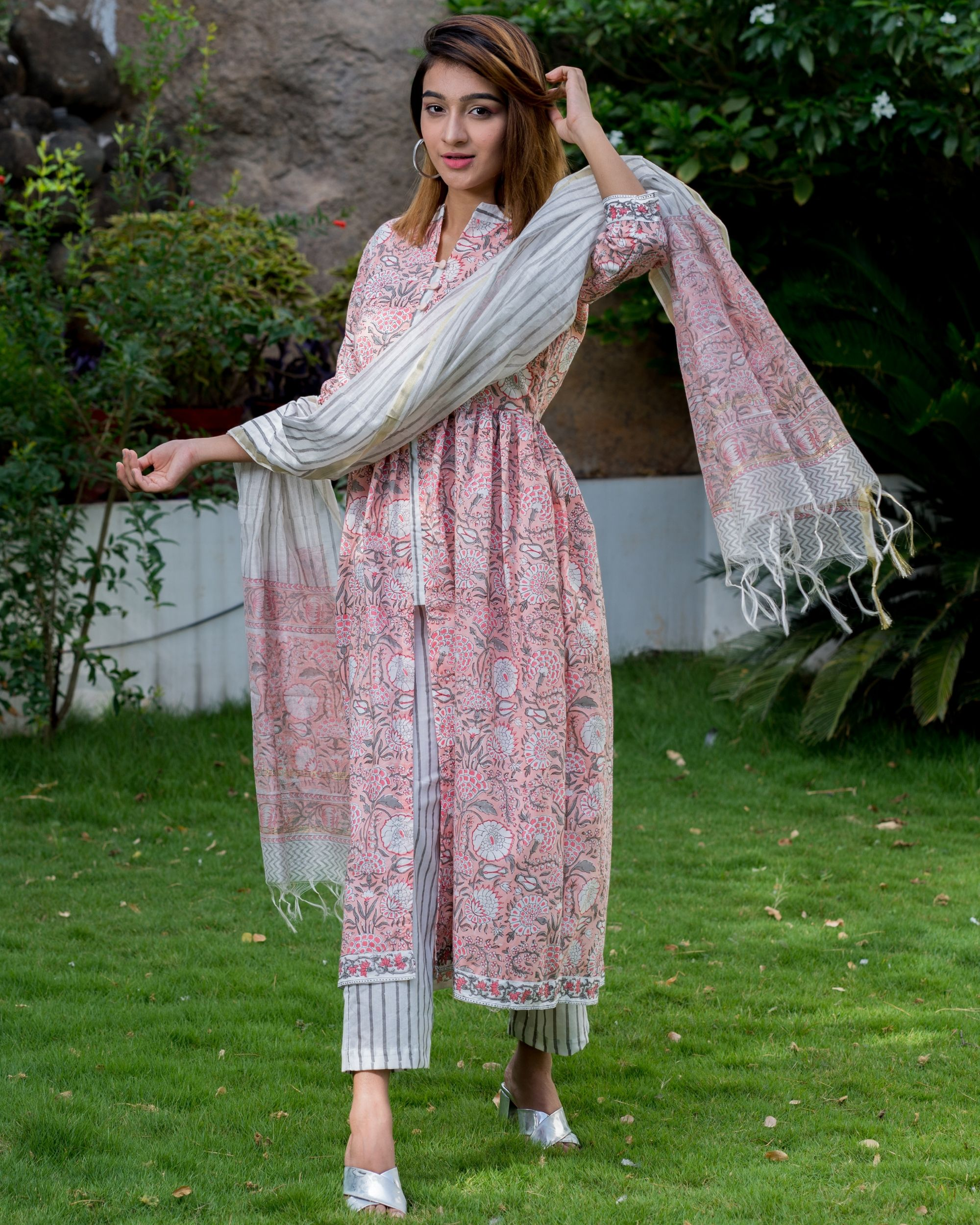 Blush pink floral block printed suit set with chanderi dupatta - set of three