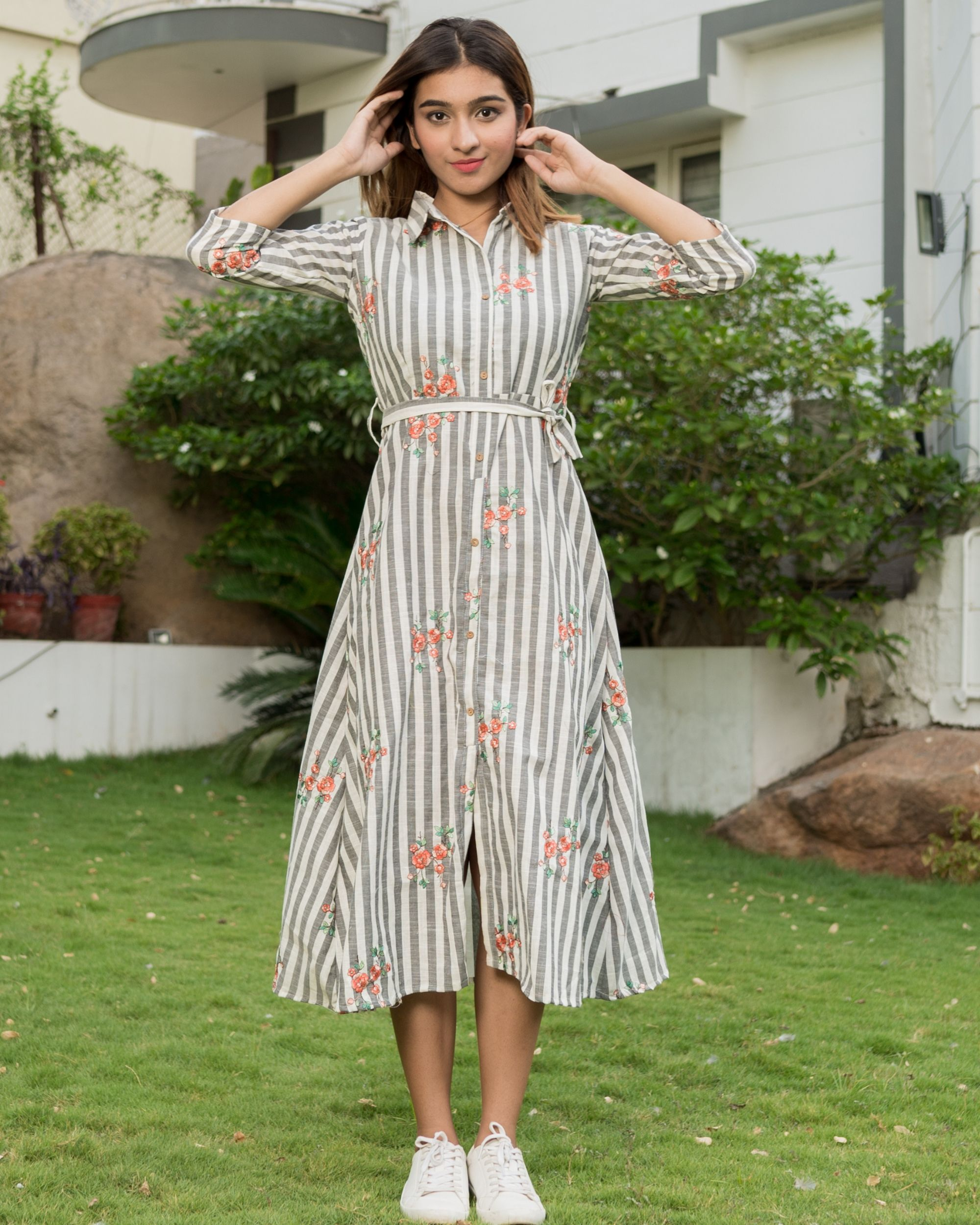 Floral embroidered grey and white stripes dress with belt tie up