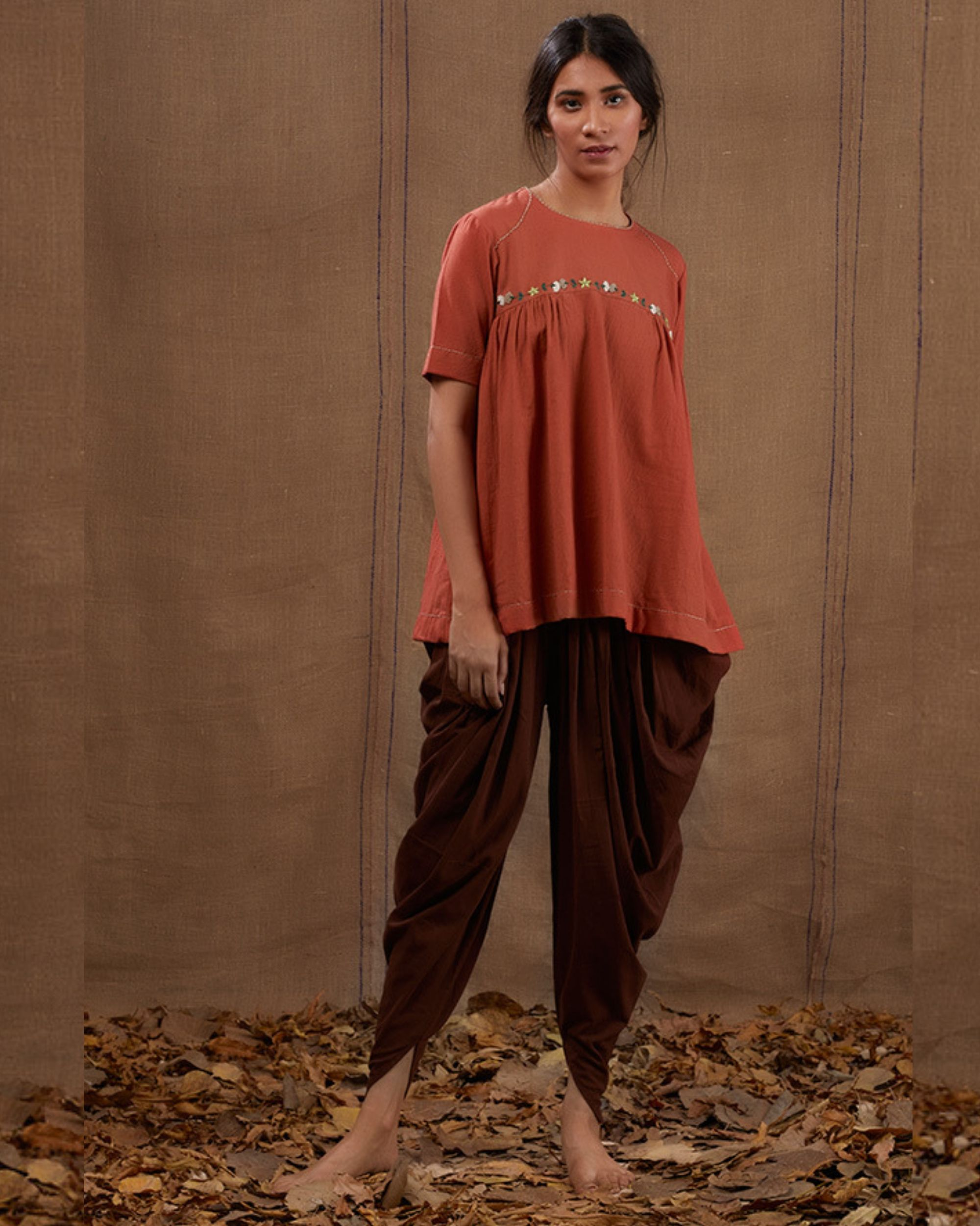 Rusty floral embroidered top with pants - set of two