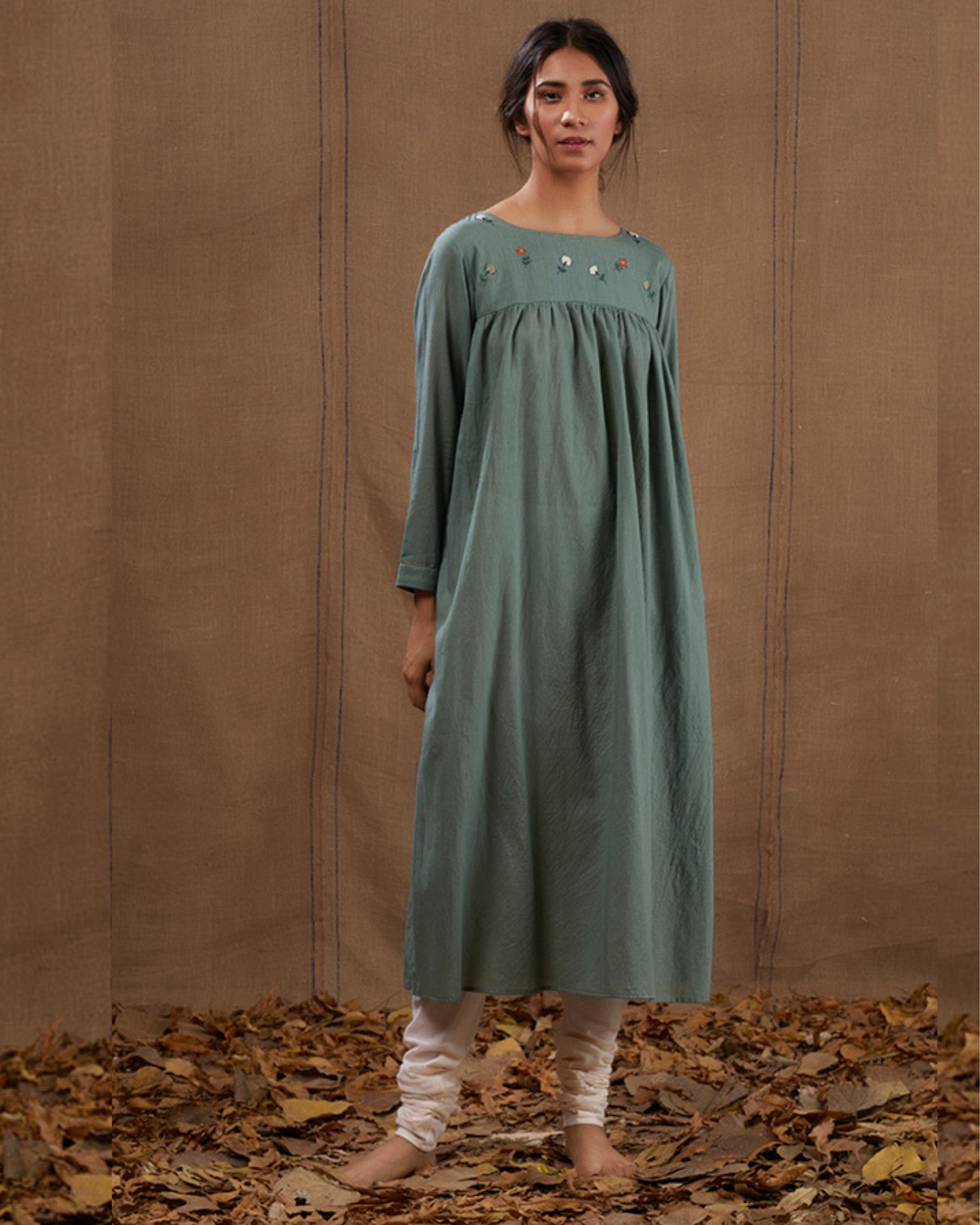 Cyan floral green embroidered dress