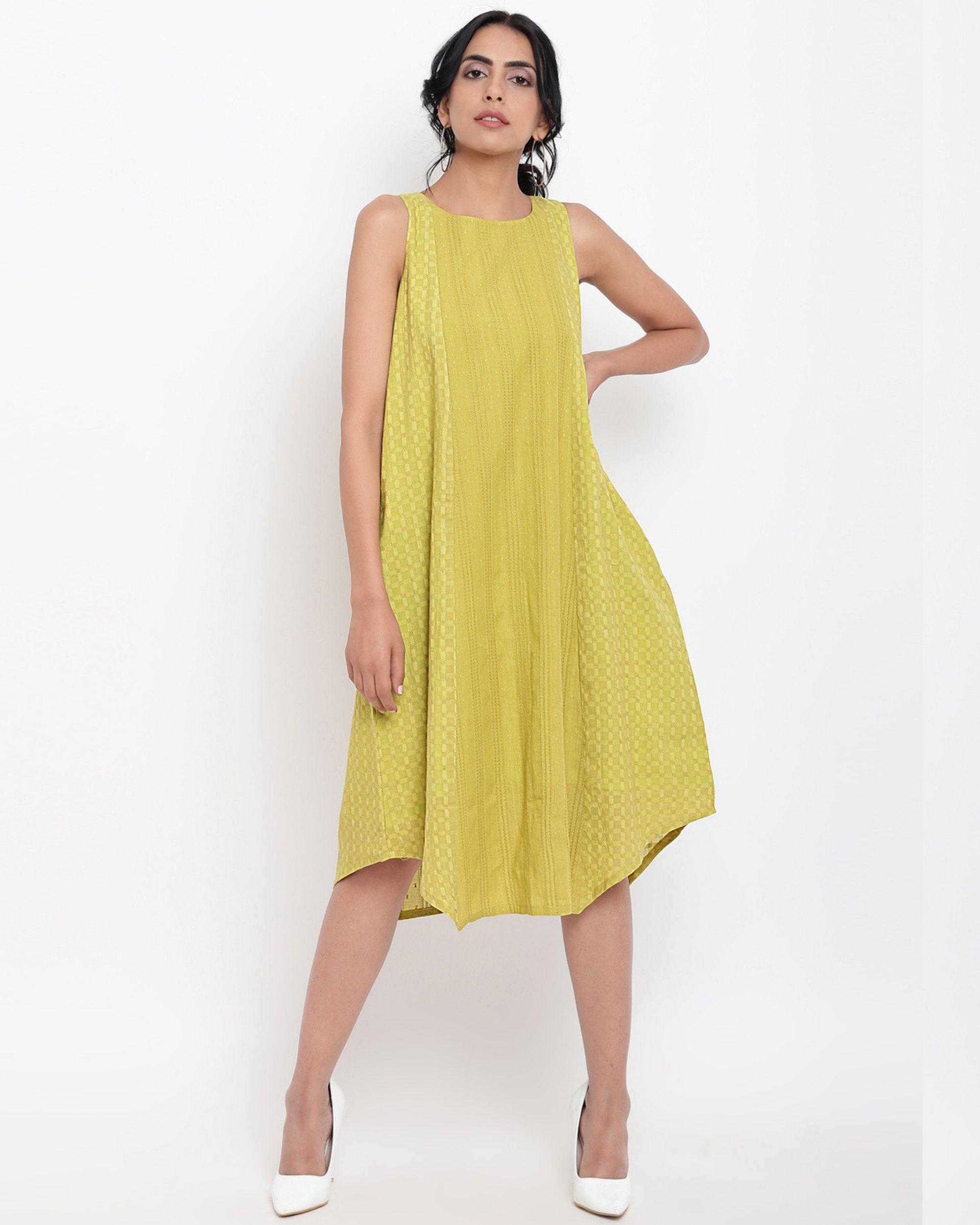 Green cotton panelled dress