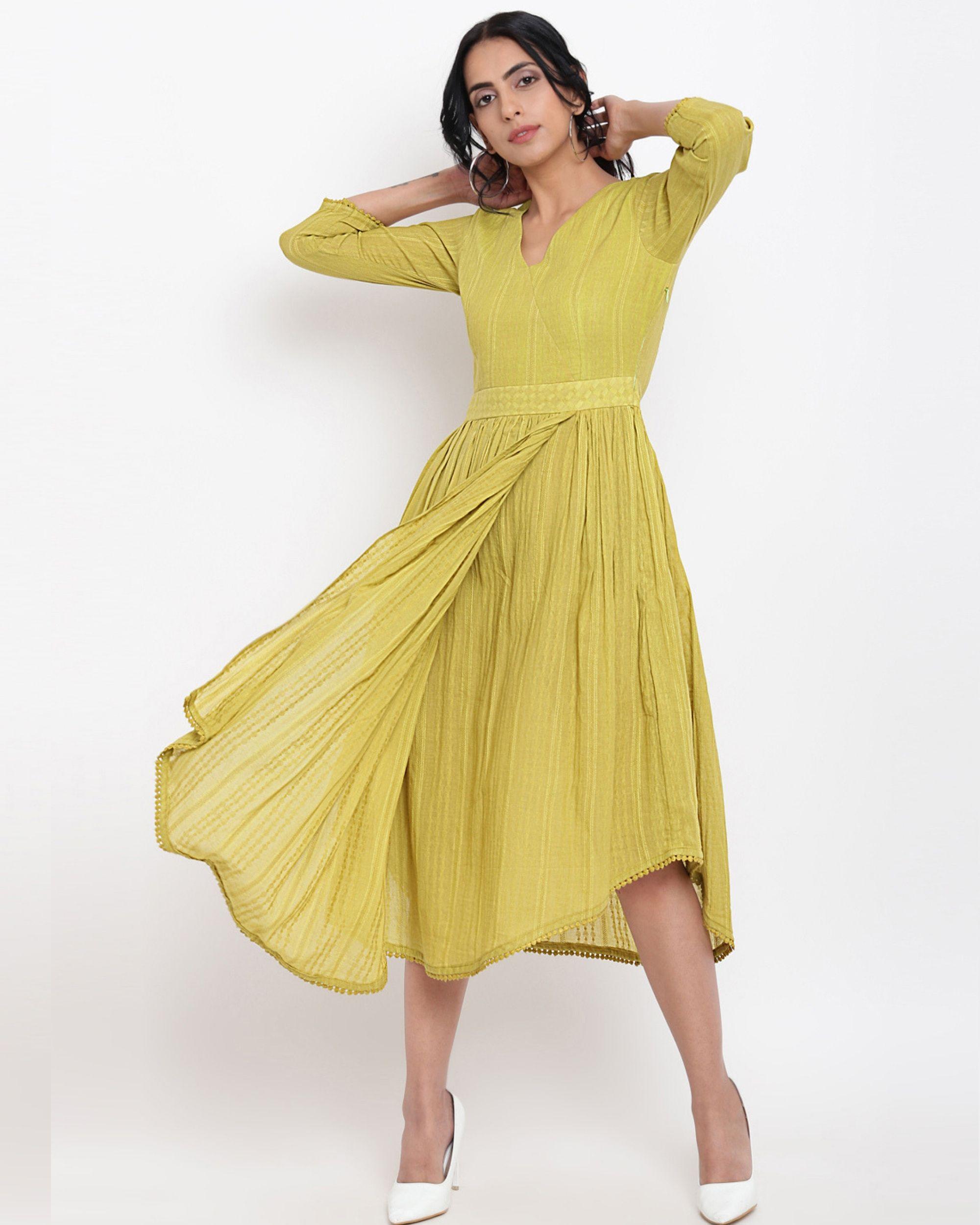 Green cotton overlap flare dress