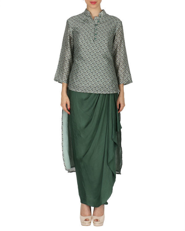 Kurta with dhoti set in grey and  green