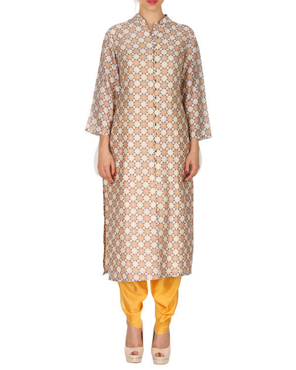 Kurta with patiala set in beige and yellow