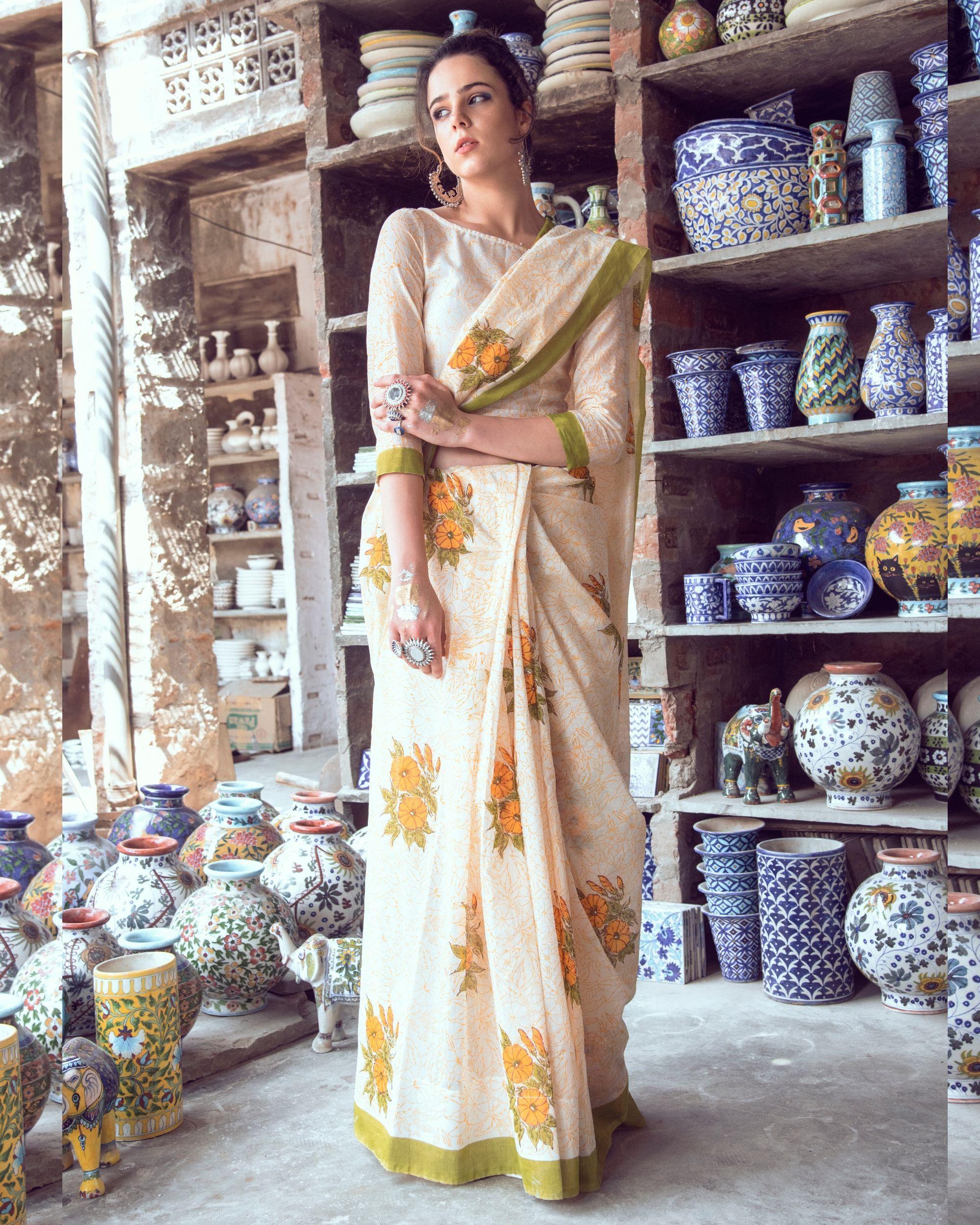 Yellow petunia sari