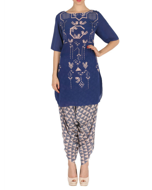 Kurta with patiala set in blue and peach