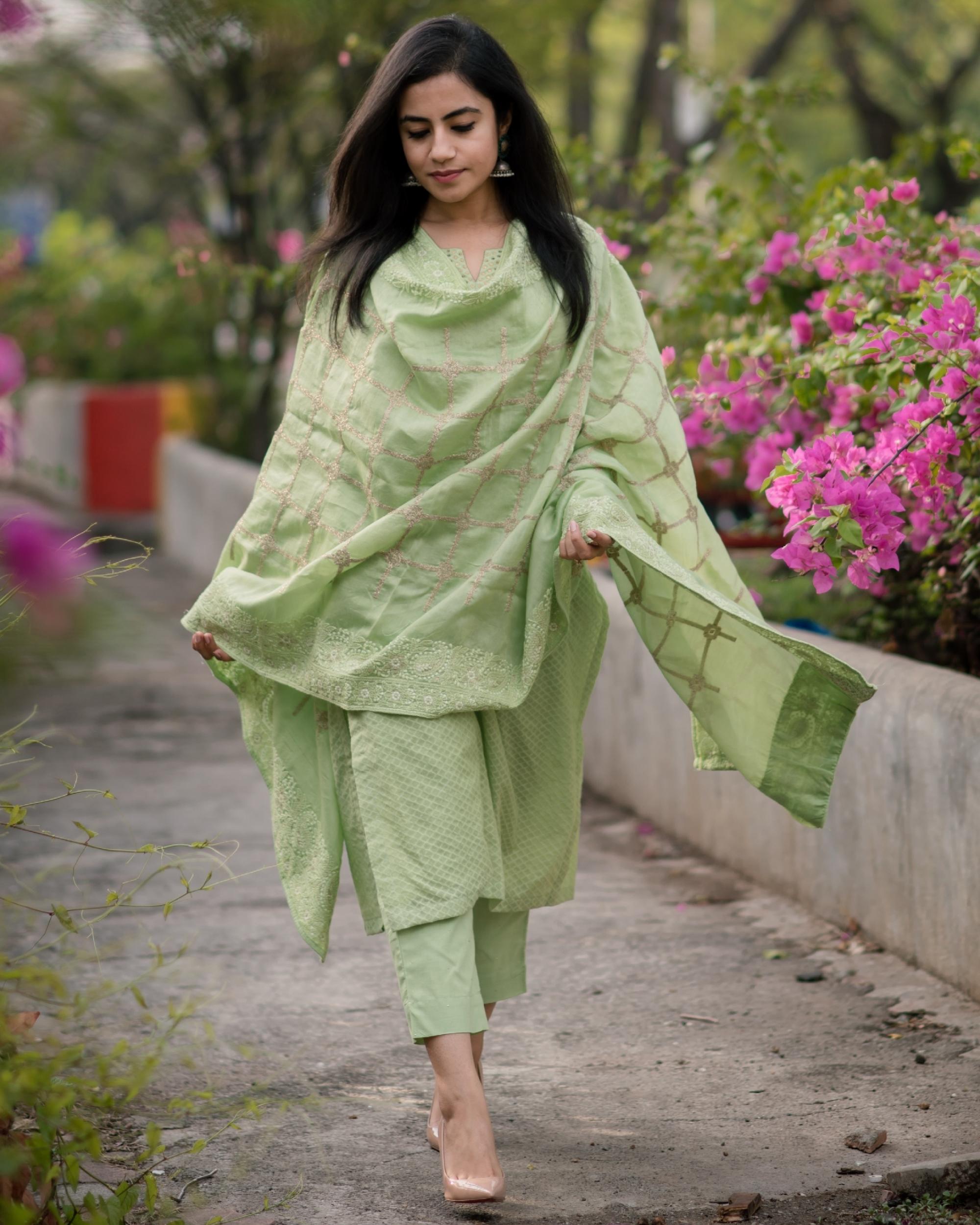 Fern Green Chanderi Kurta Set - Set Of Three
