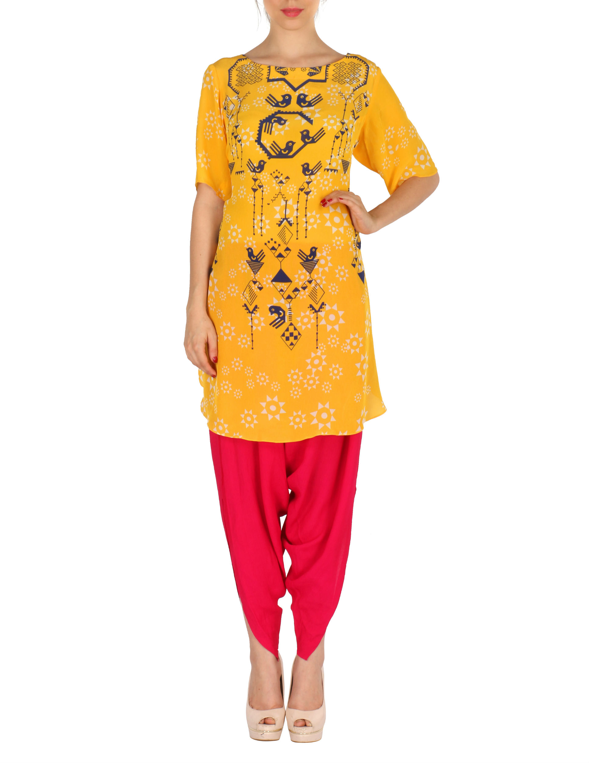 Kurta with patiala set in yellow and red