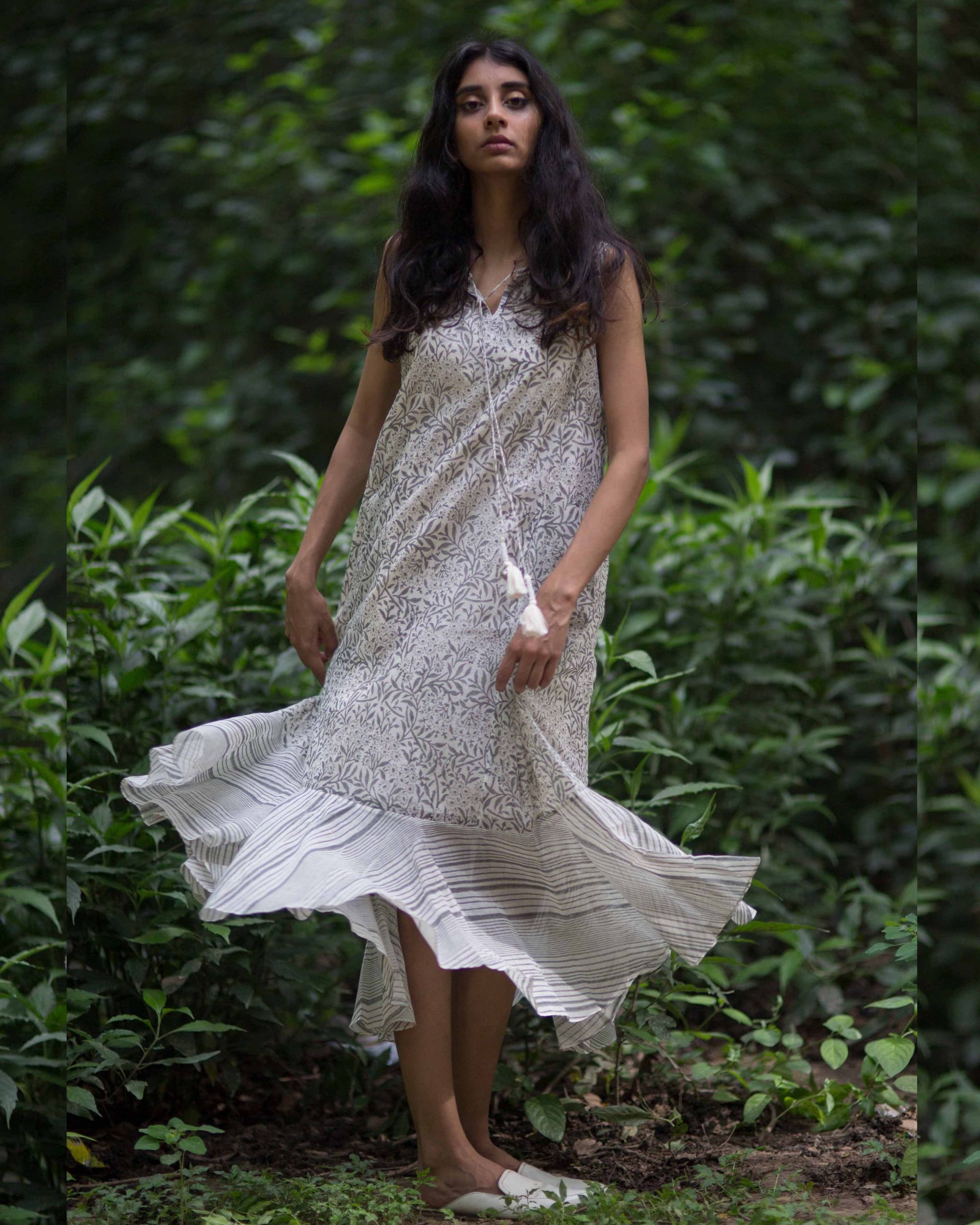 Frilled grey colored dress