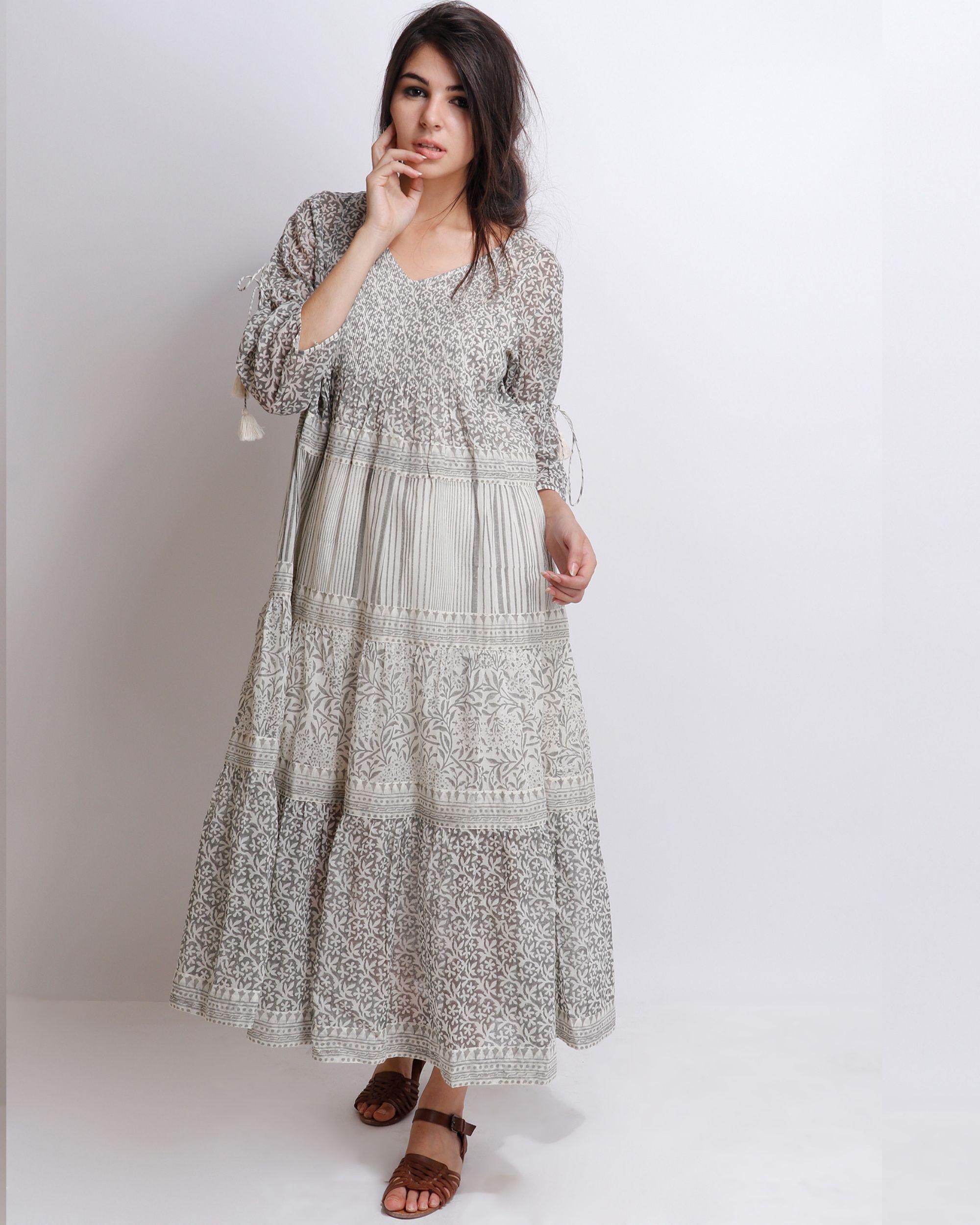 Liliac grey tiered dress