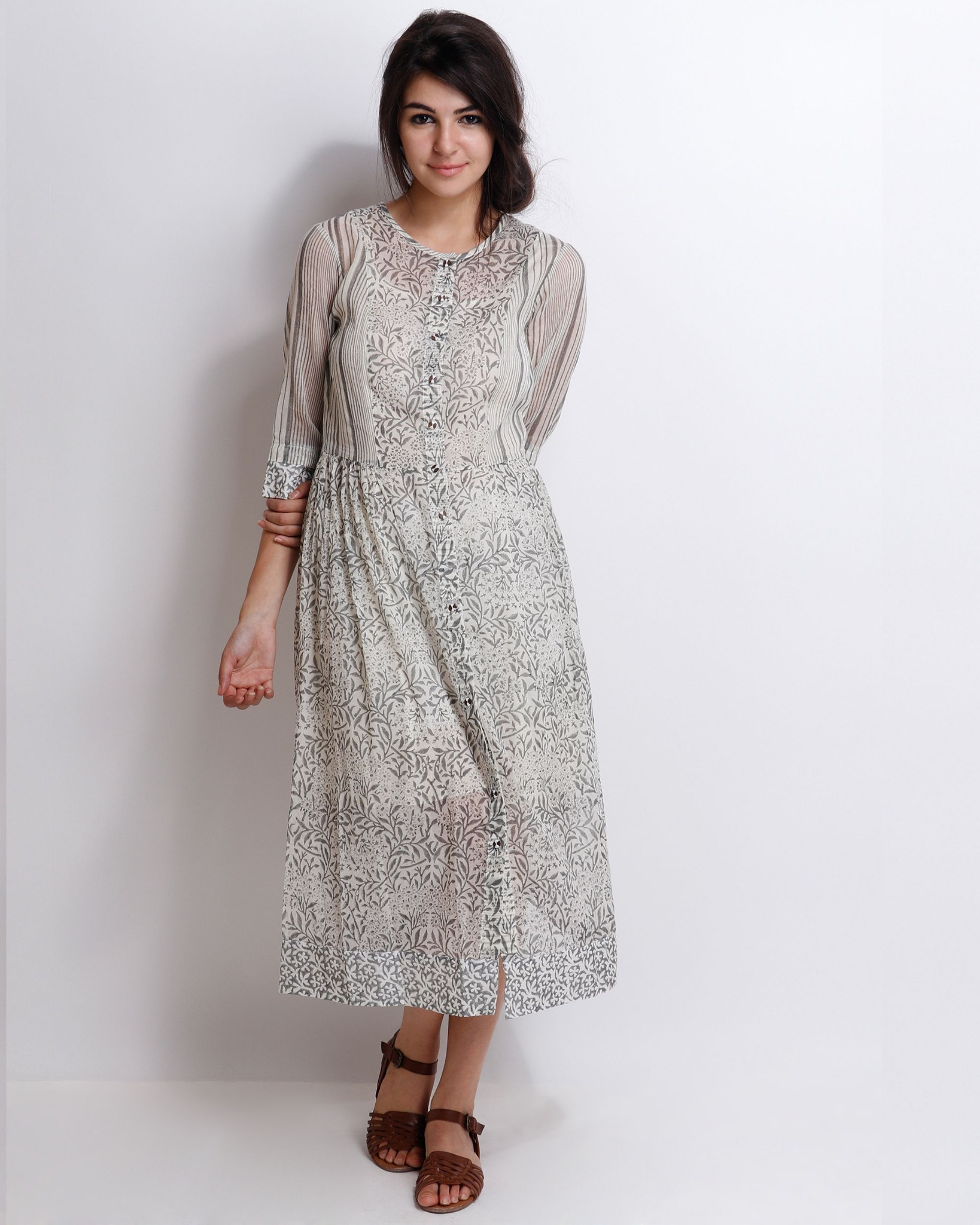 Grey carnation peshi dress