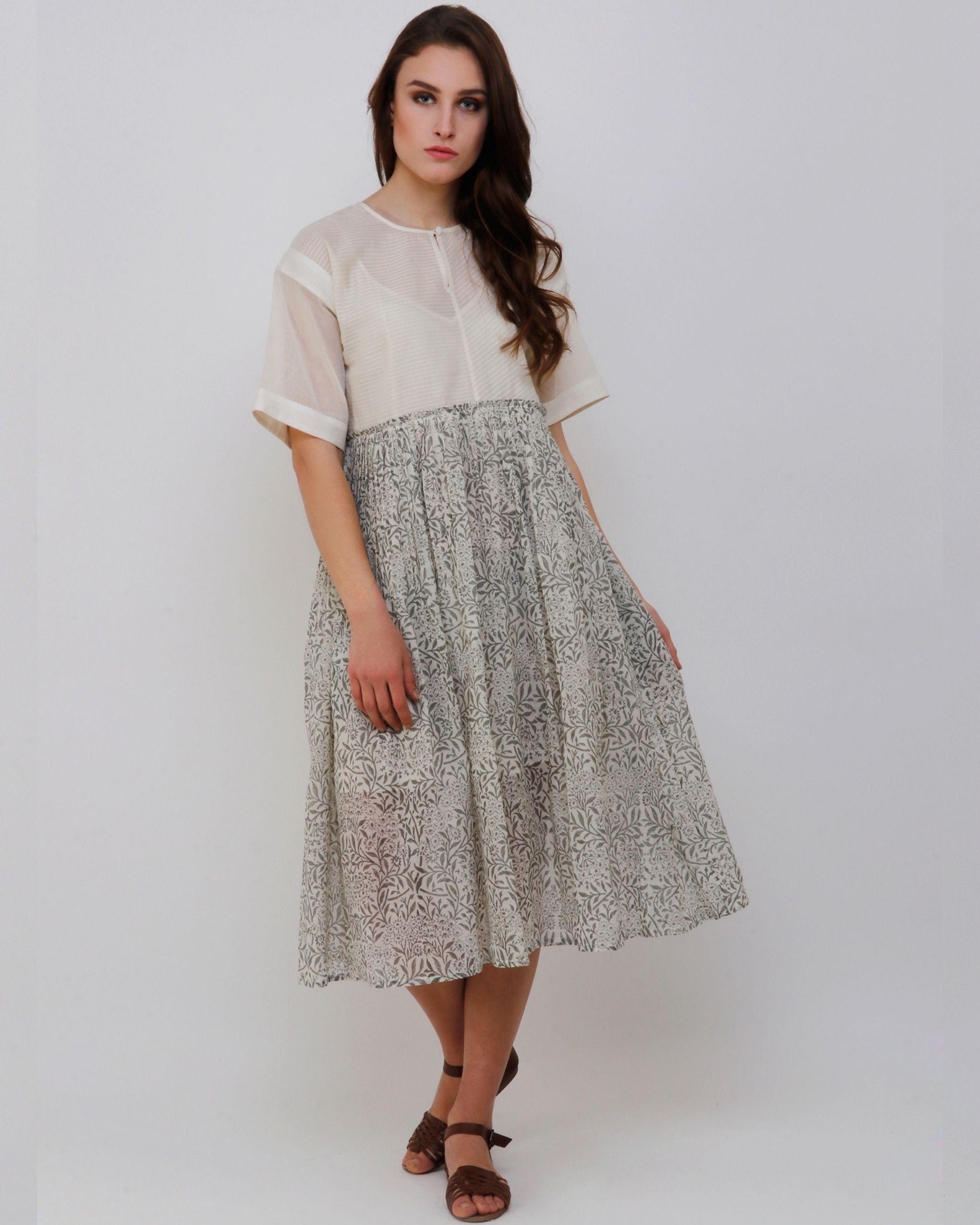 Handblock printed grey dress