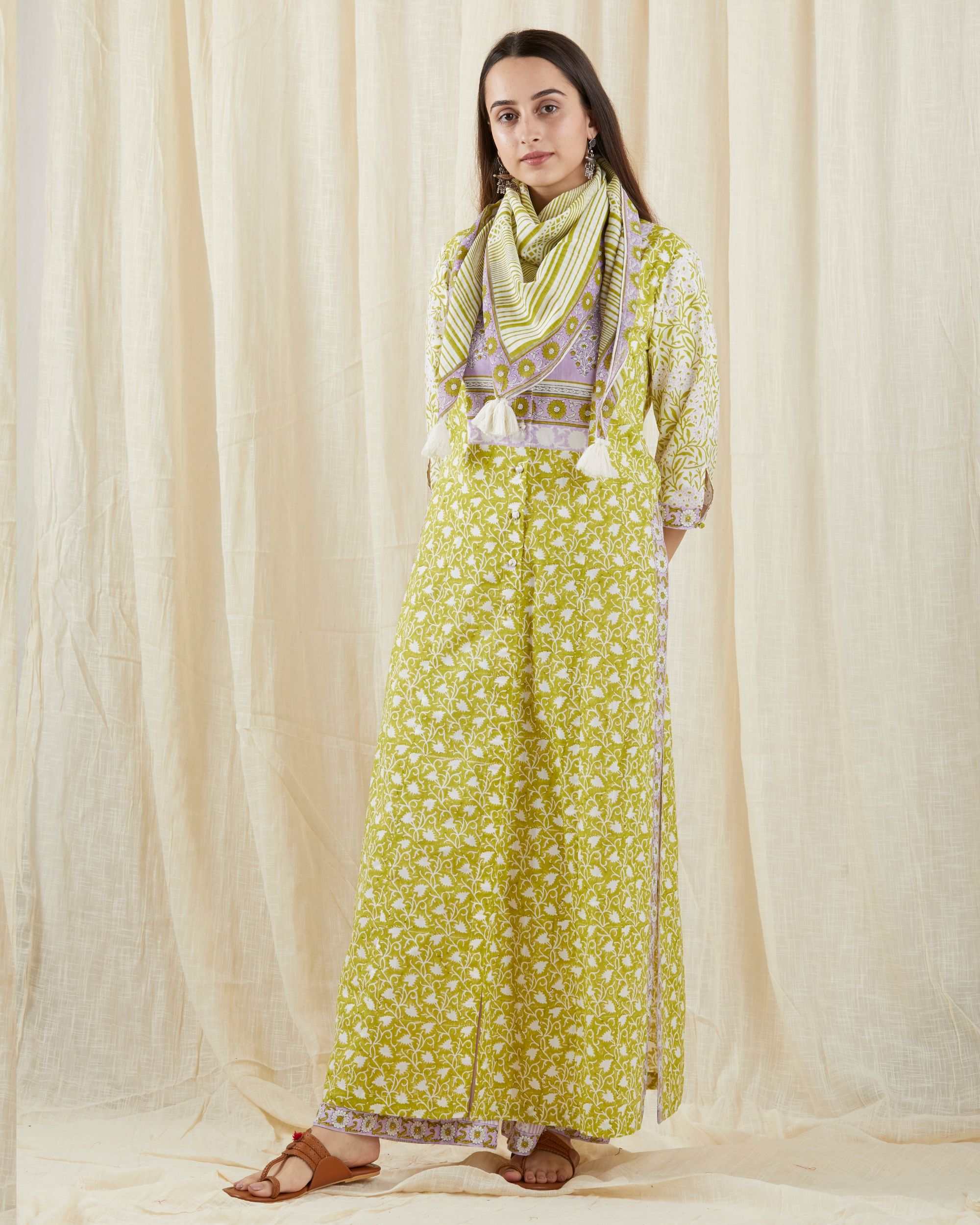 Green colored kurta set - set of three