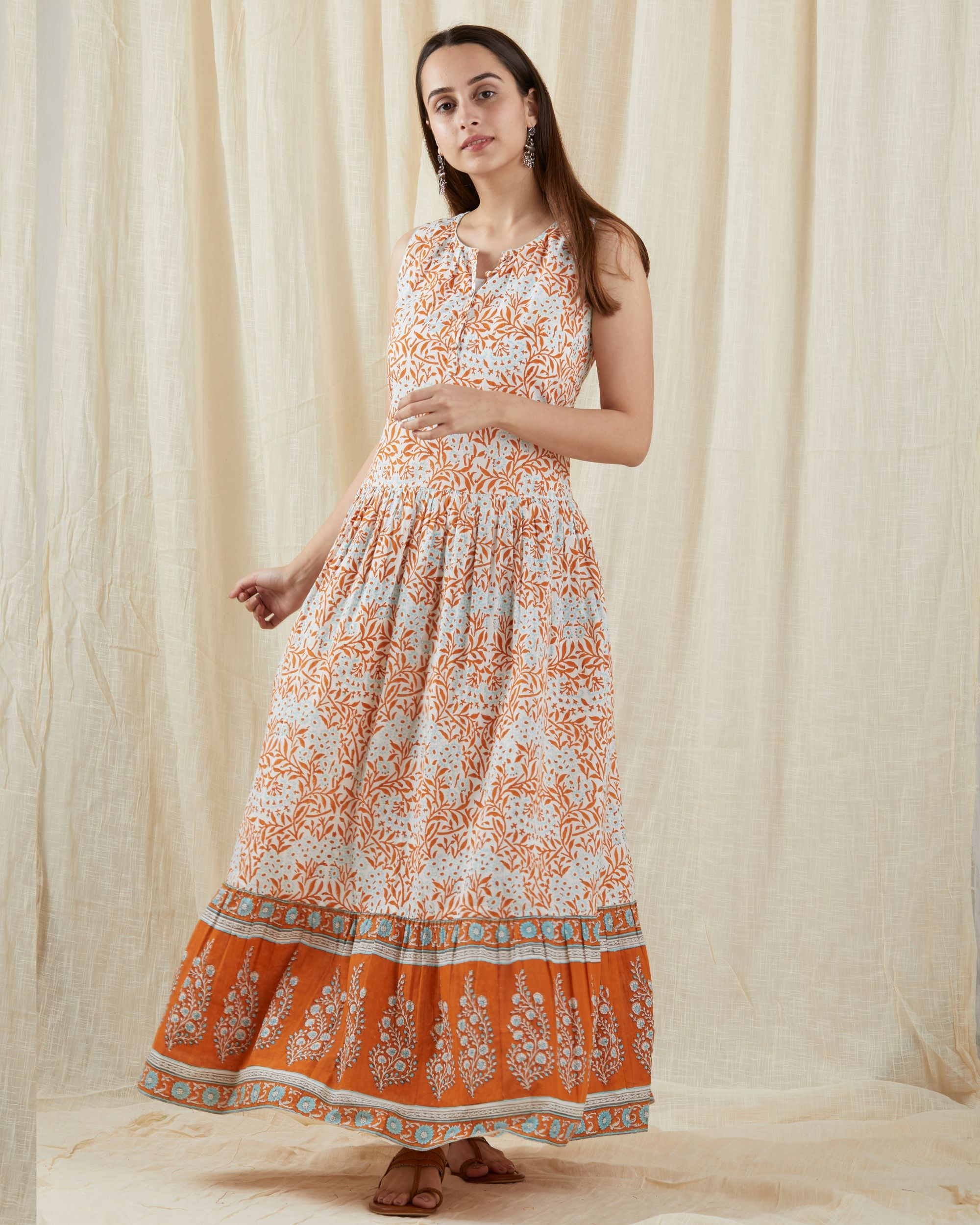 Aqua orange frilled dress