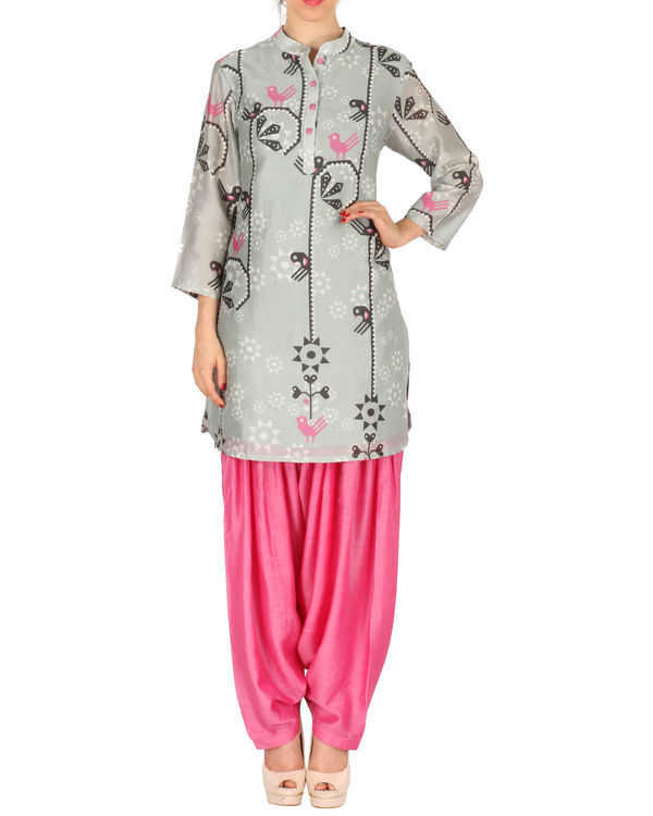 Kurta with patiala set in grey and pink