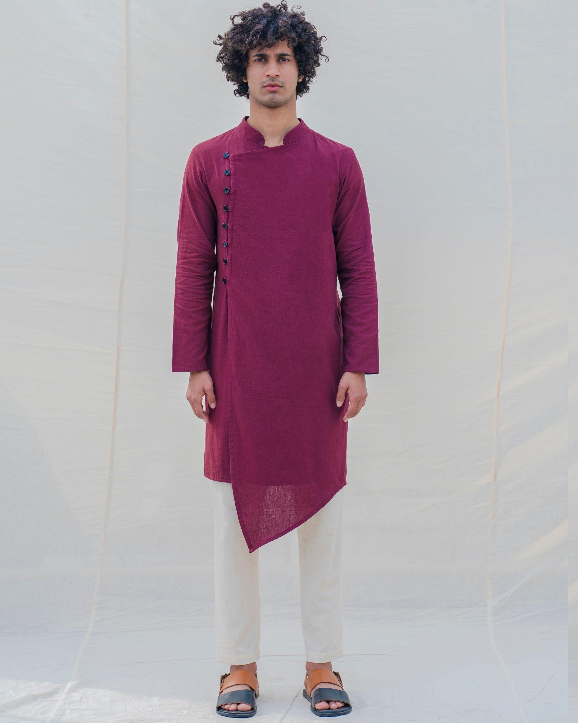 Maroon side buttoned kurta