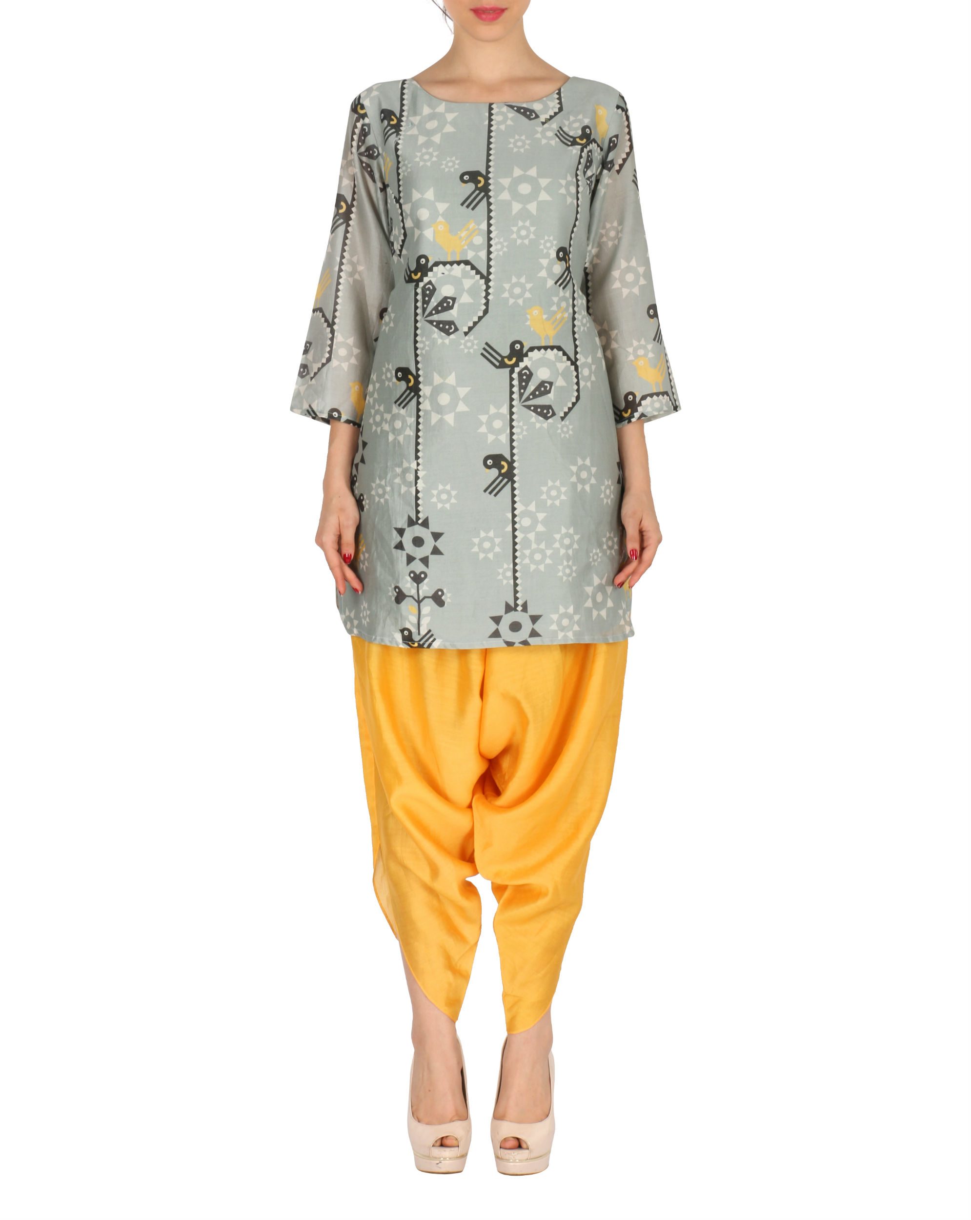 Kurti with patiala in grey and yellow