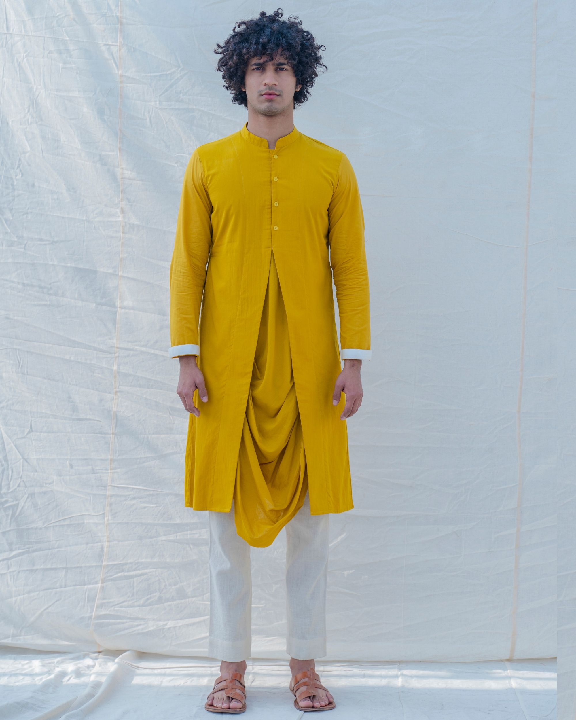 Yellow and white draped kurta