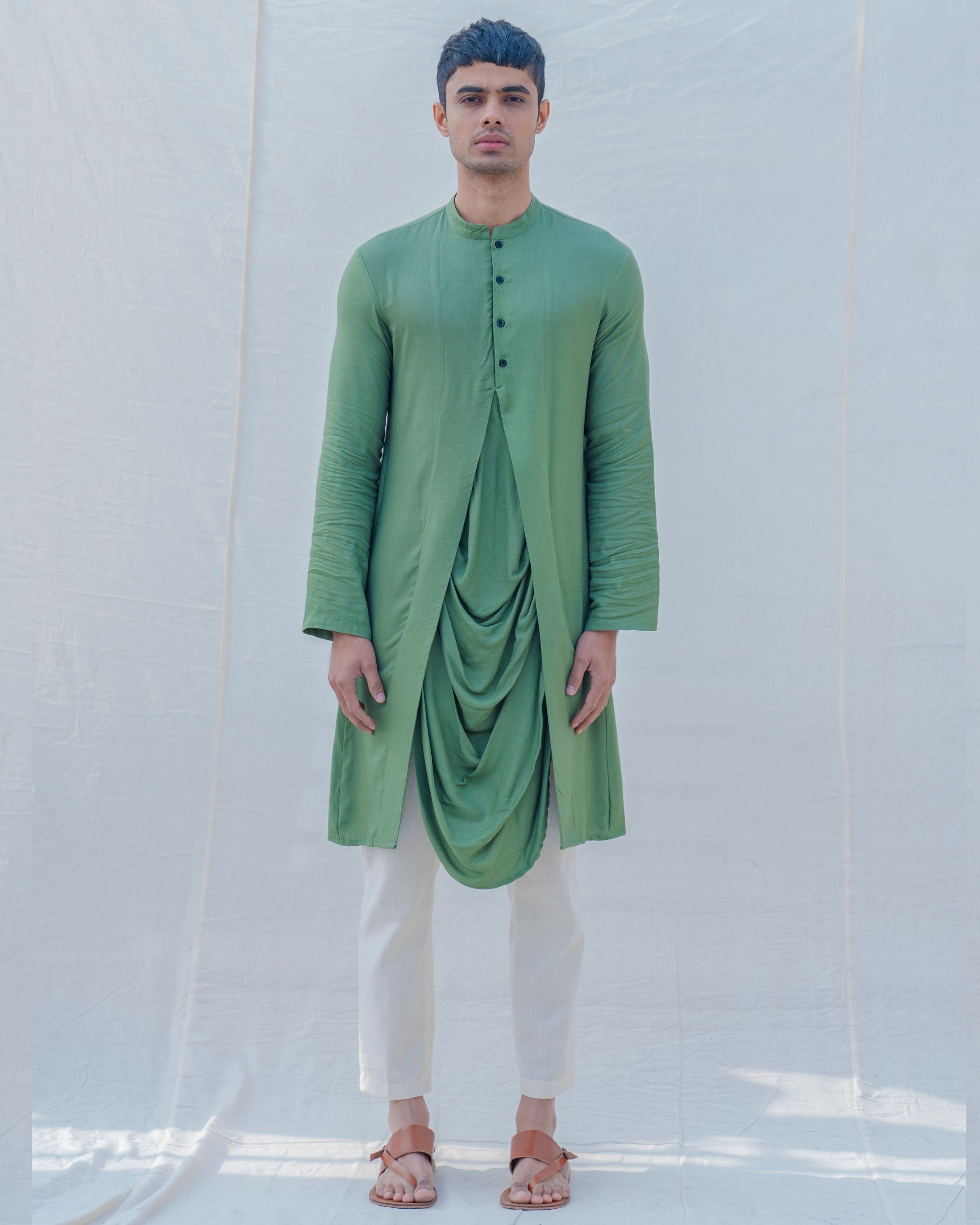 Green draped kurta