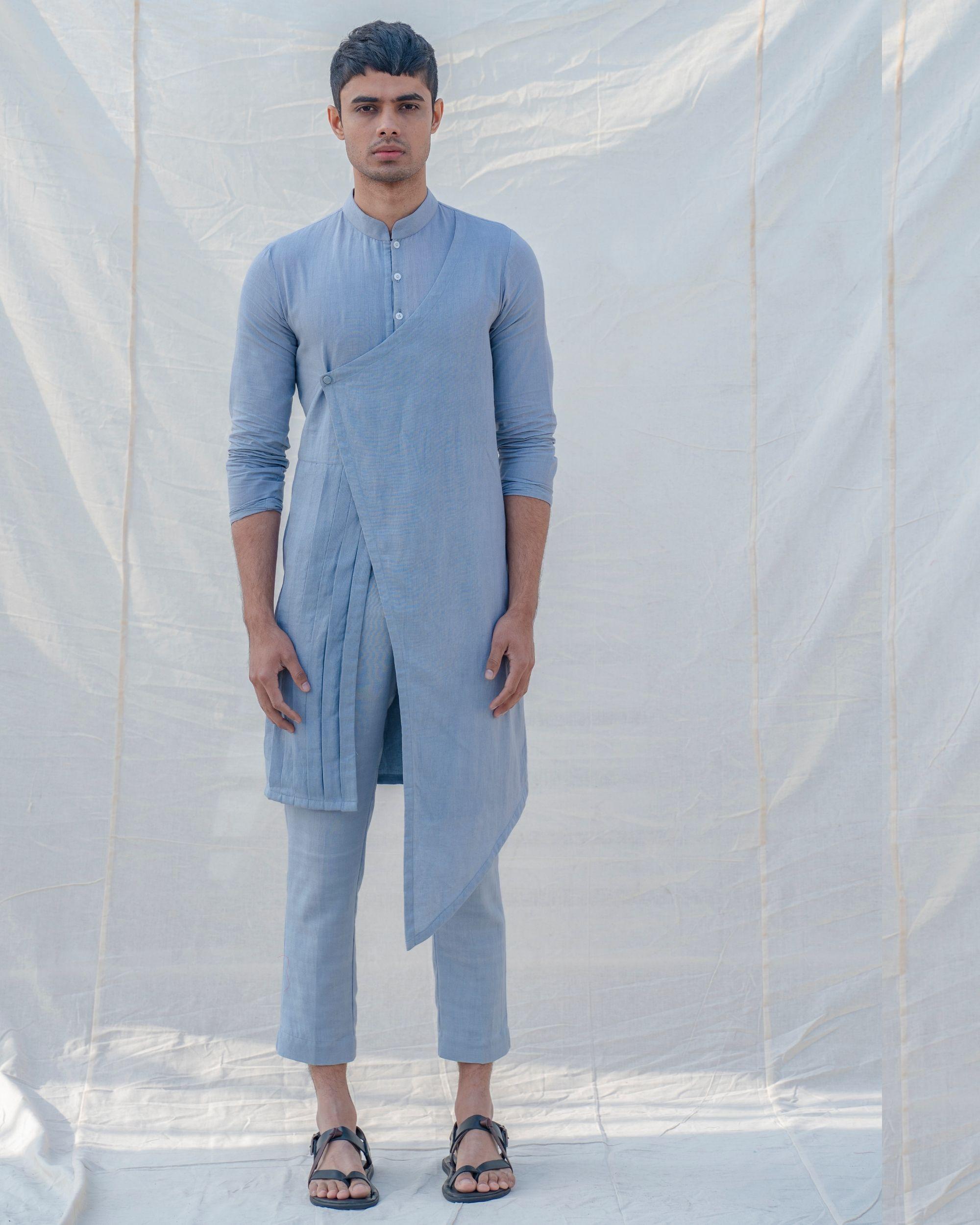 Sky blue front slit kurta