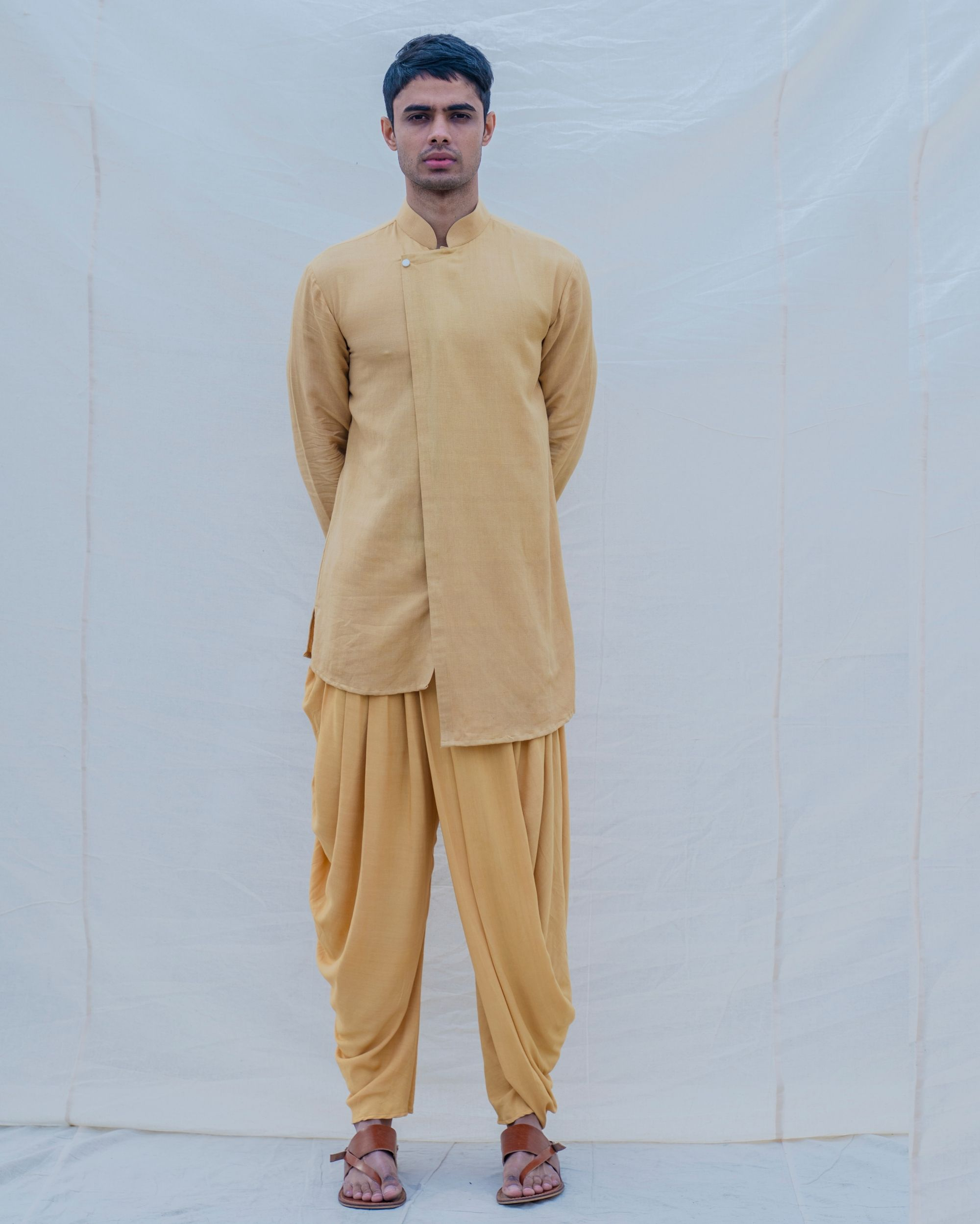 Beige gold cotton linen kurta