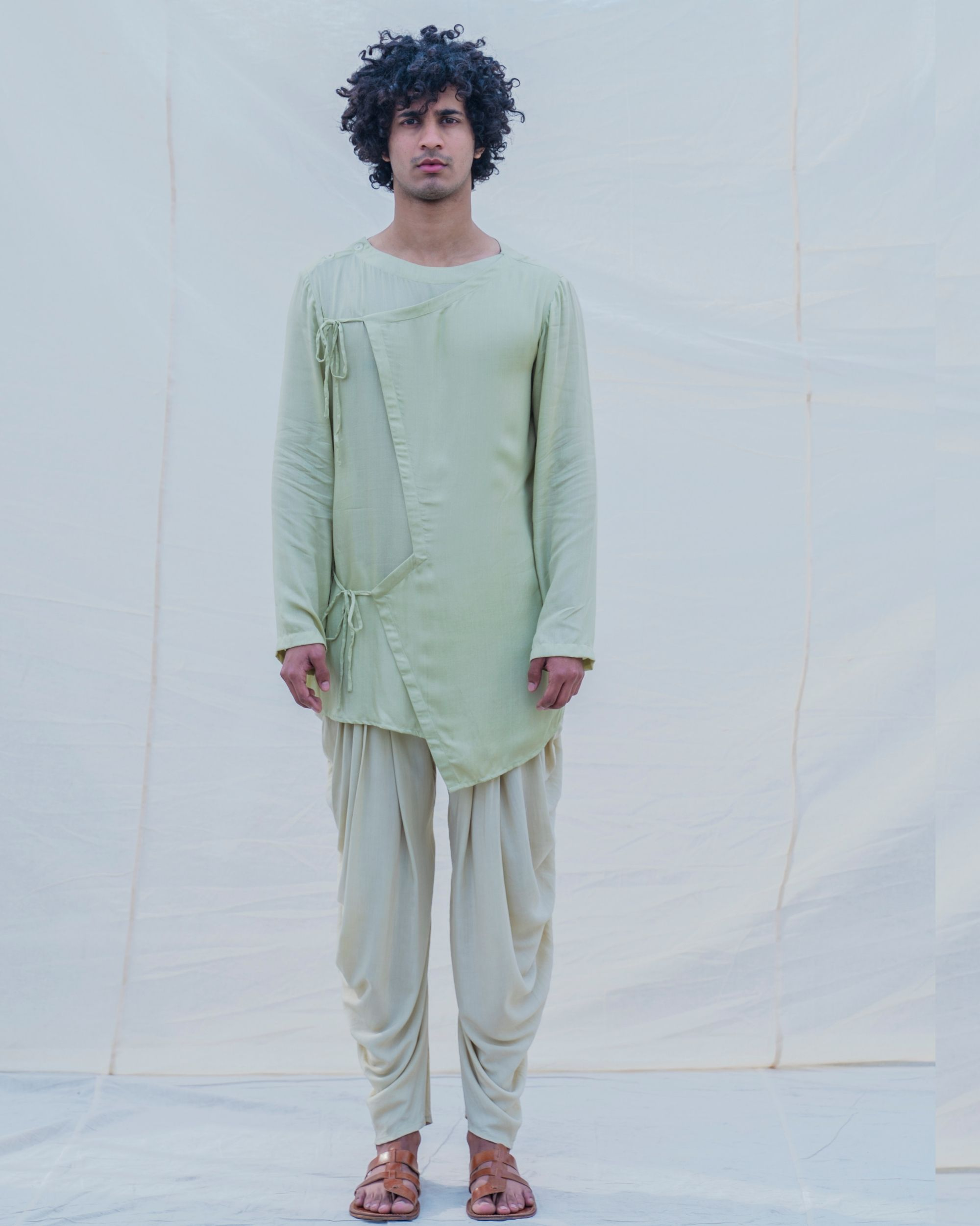Pista green short kurta