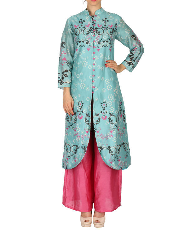 Kurta with palazzo set in ice blue and pink