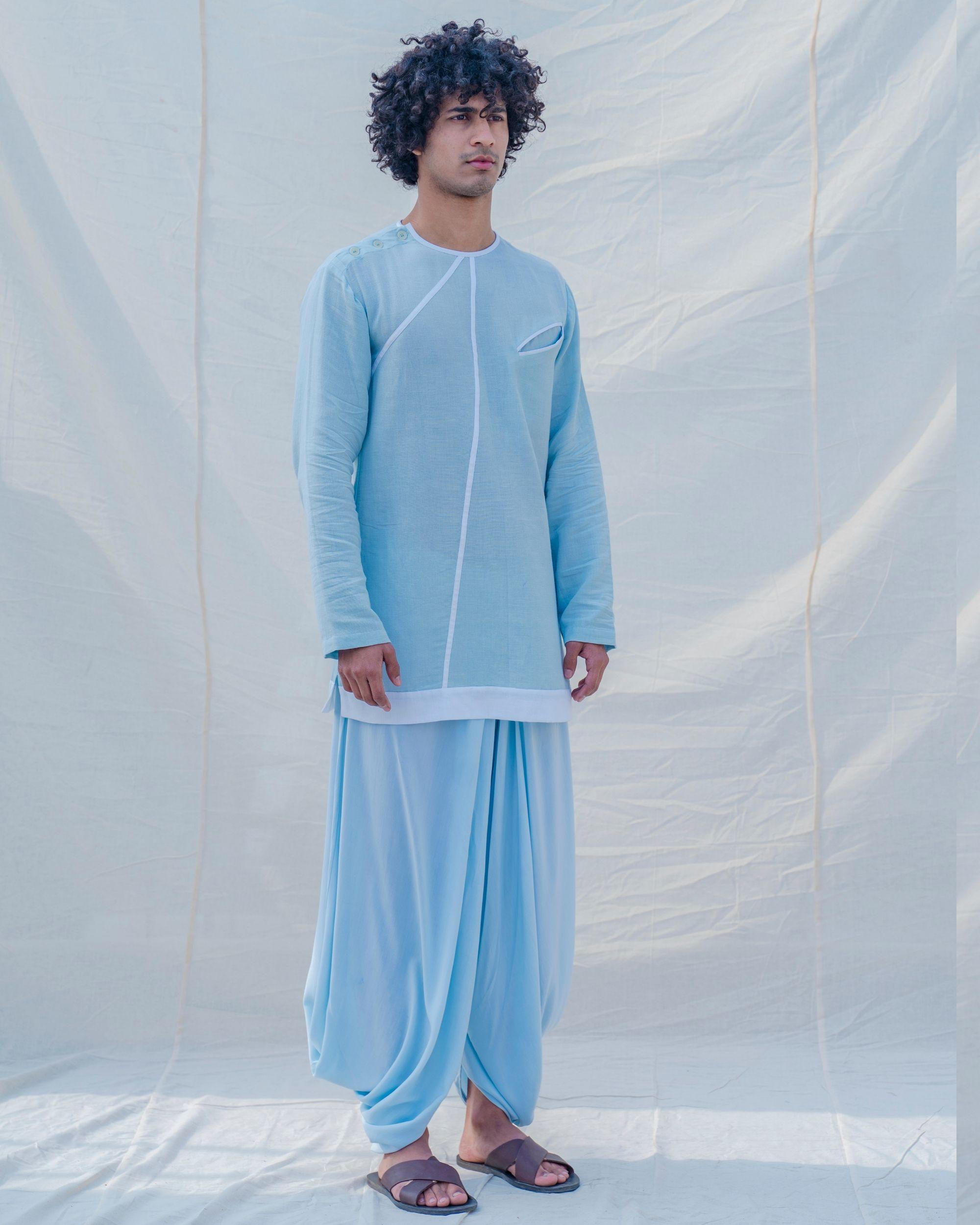 Aqua blue and white kurta
