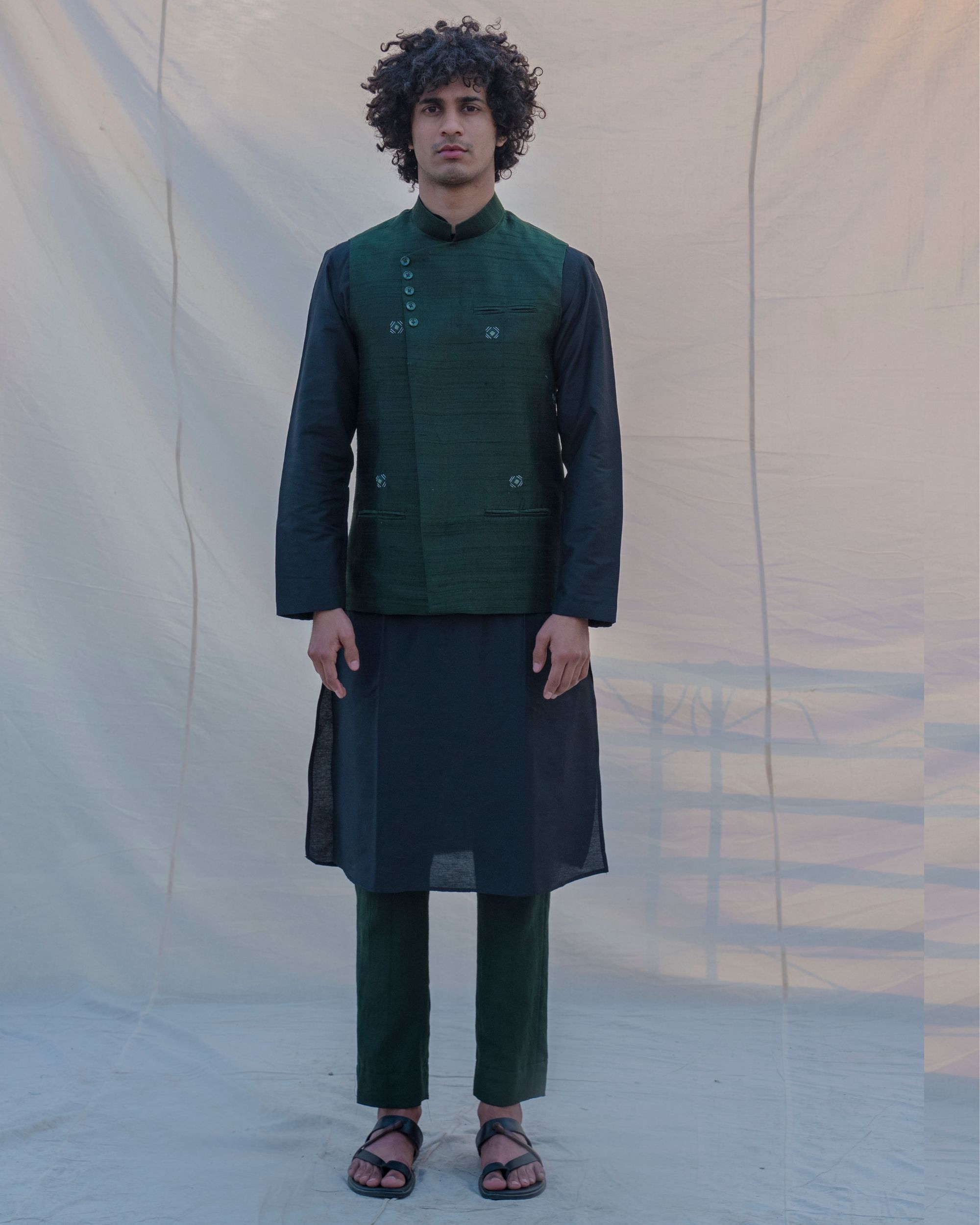 Bottle green waist coat