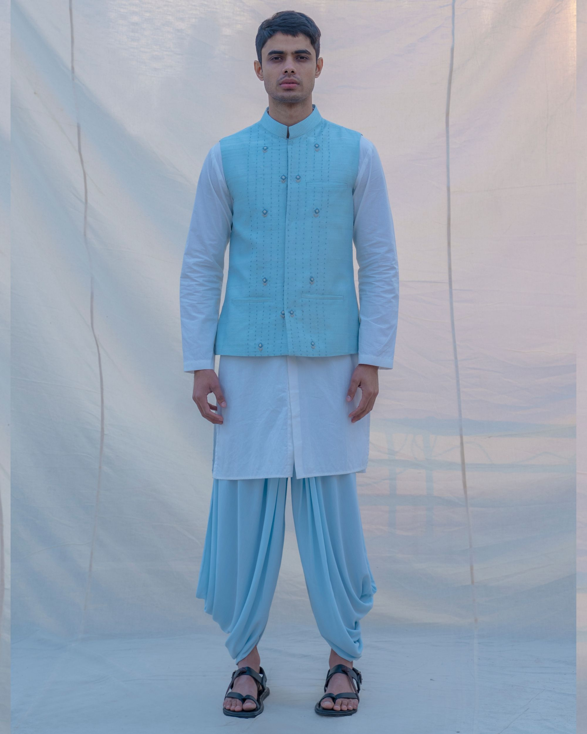 Aqua blue waist coat