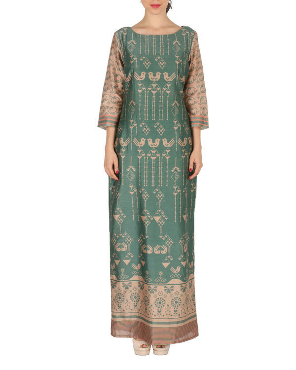 Long dress in green and beige