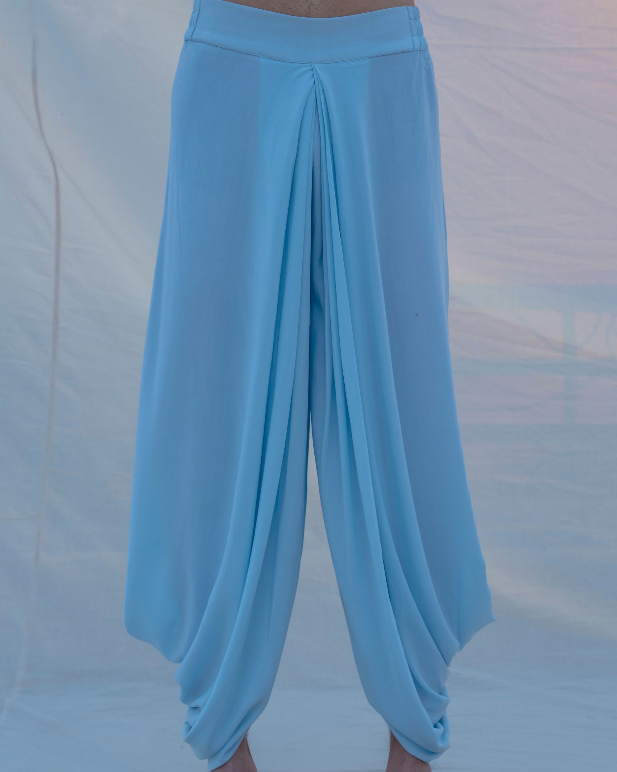 Aqua blue cotton dhoti