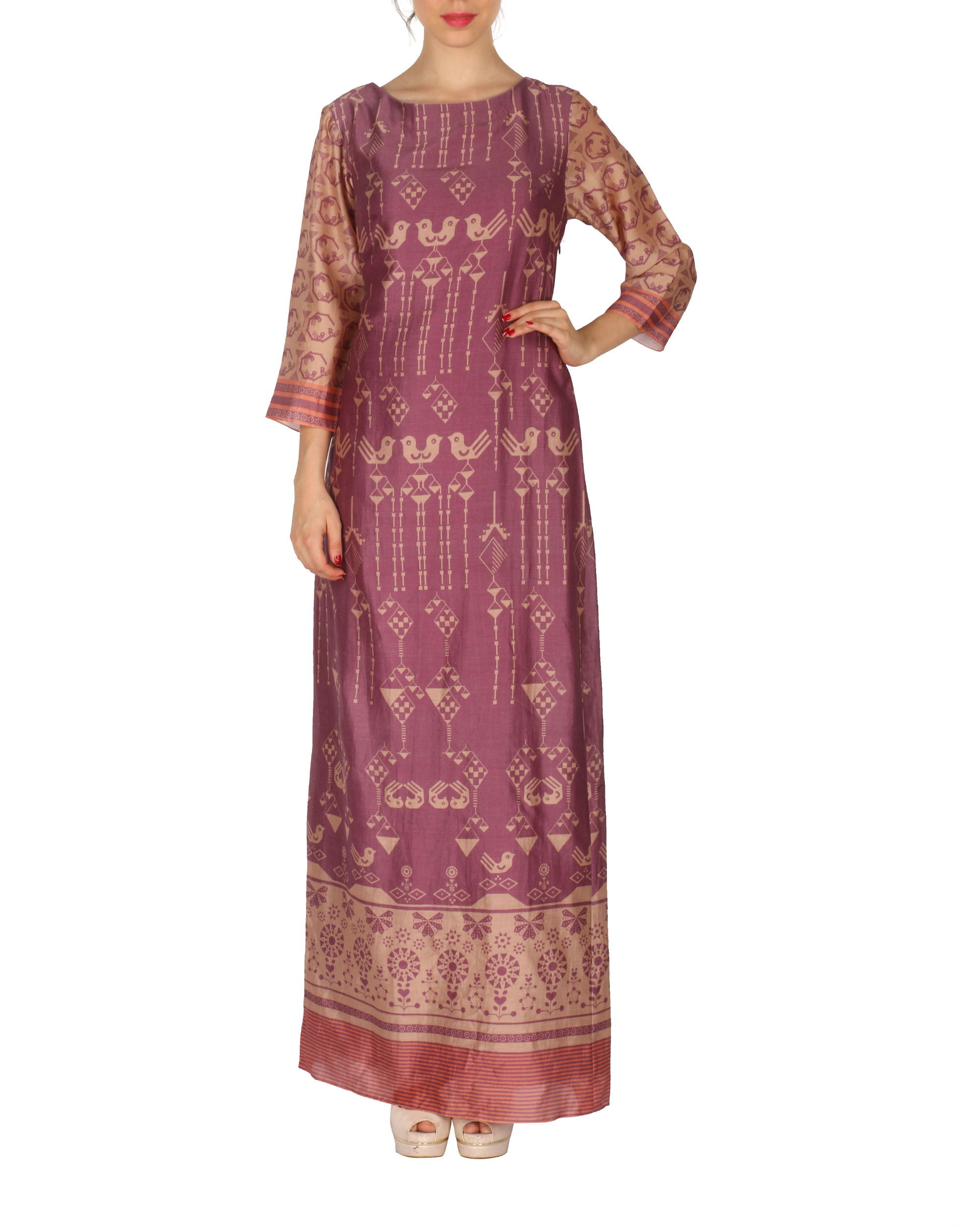 Long dress in marsala and beige
