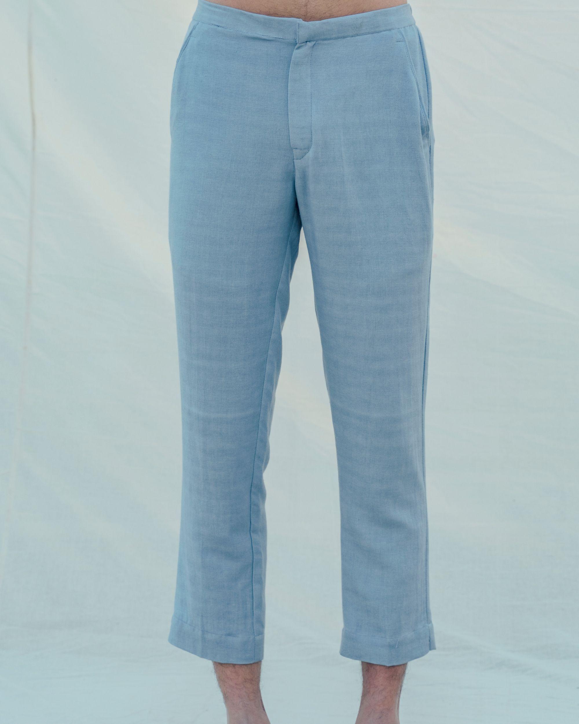 Light blue cotton linen pants
