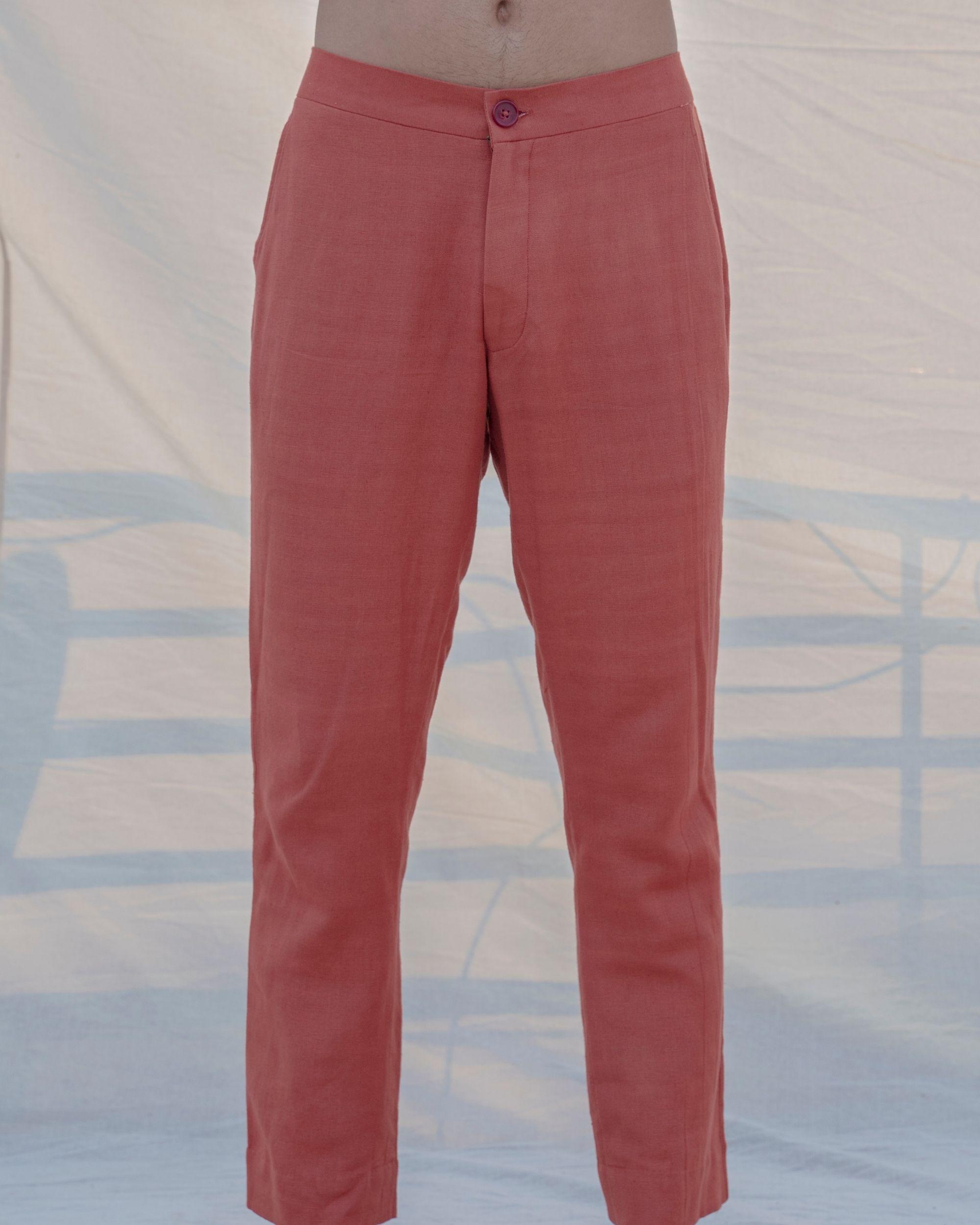 Coral cotton linen pants