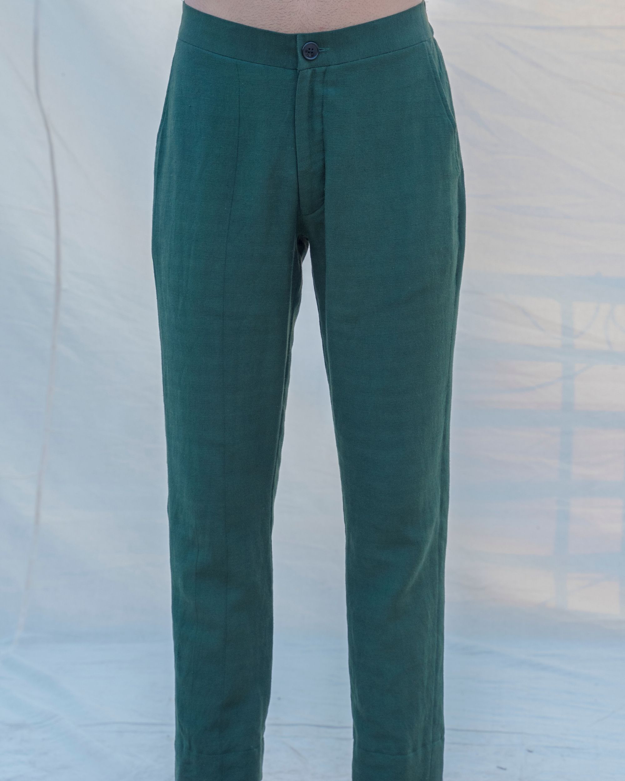 Bottle green cotton linen pants