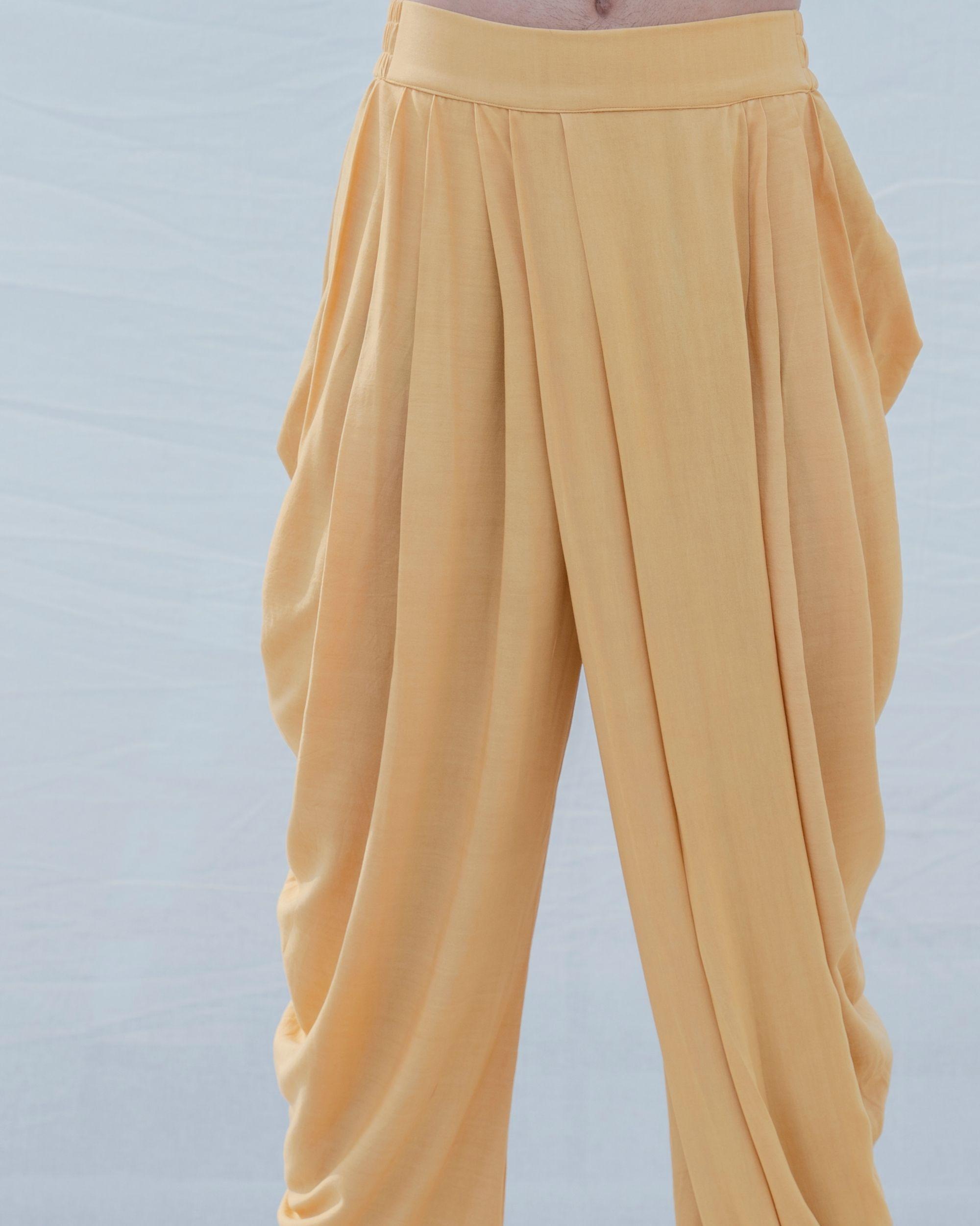 Beige gold cotton linen pants