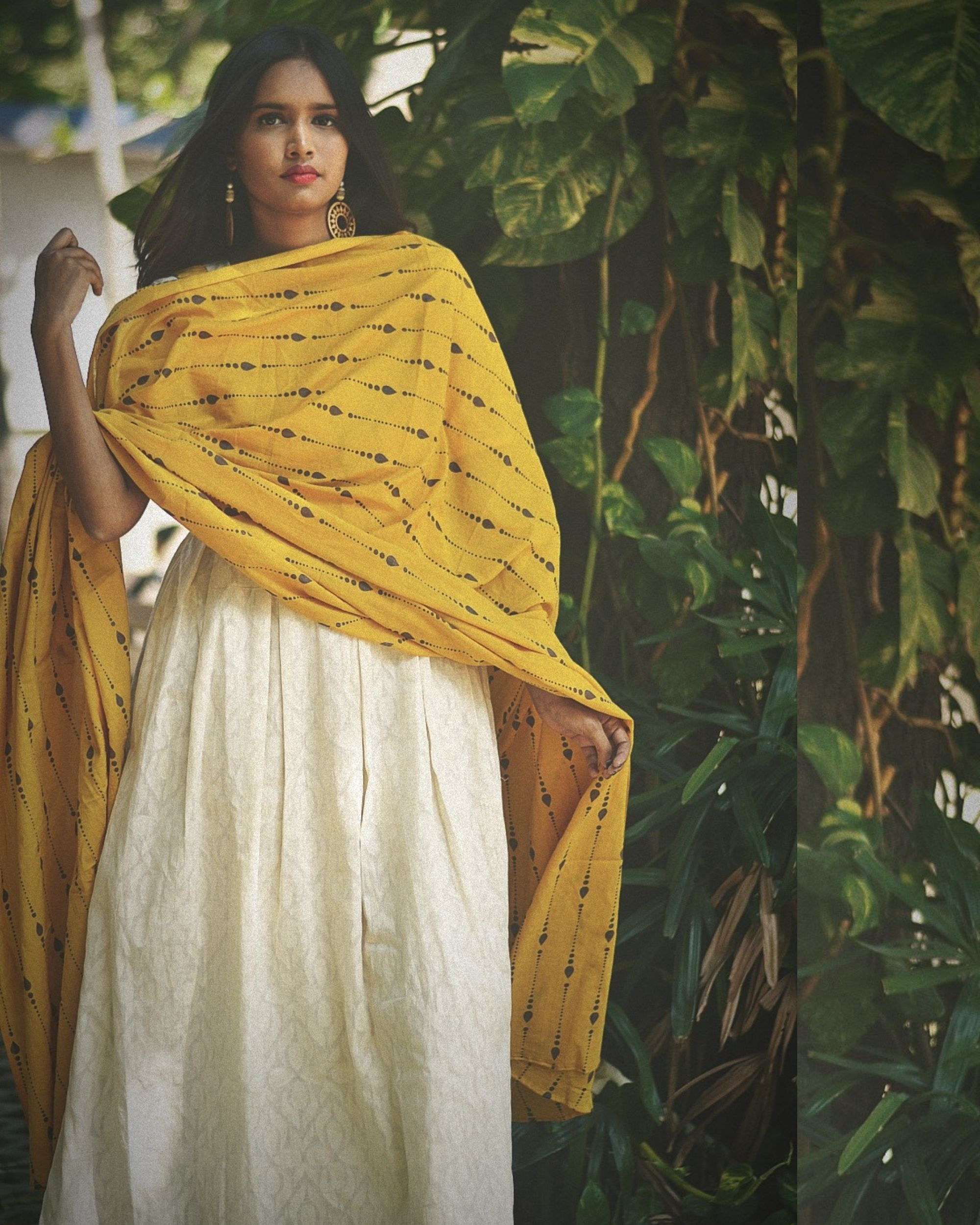 White dress with yellow  printed dupatta- set of two