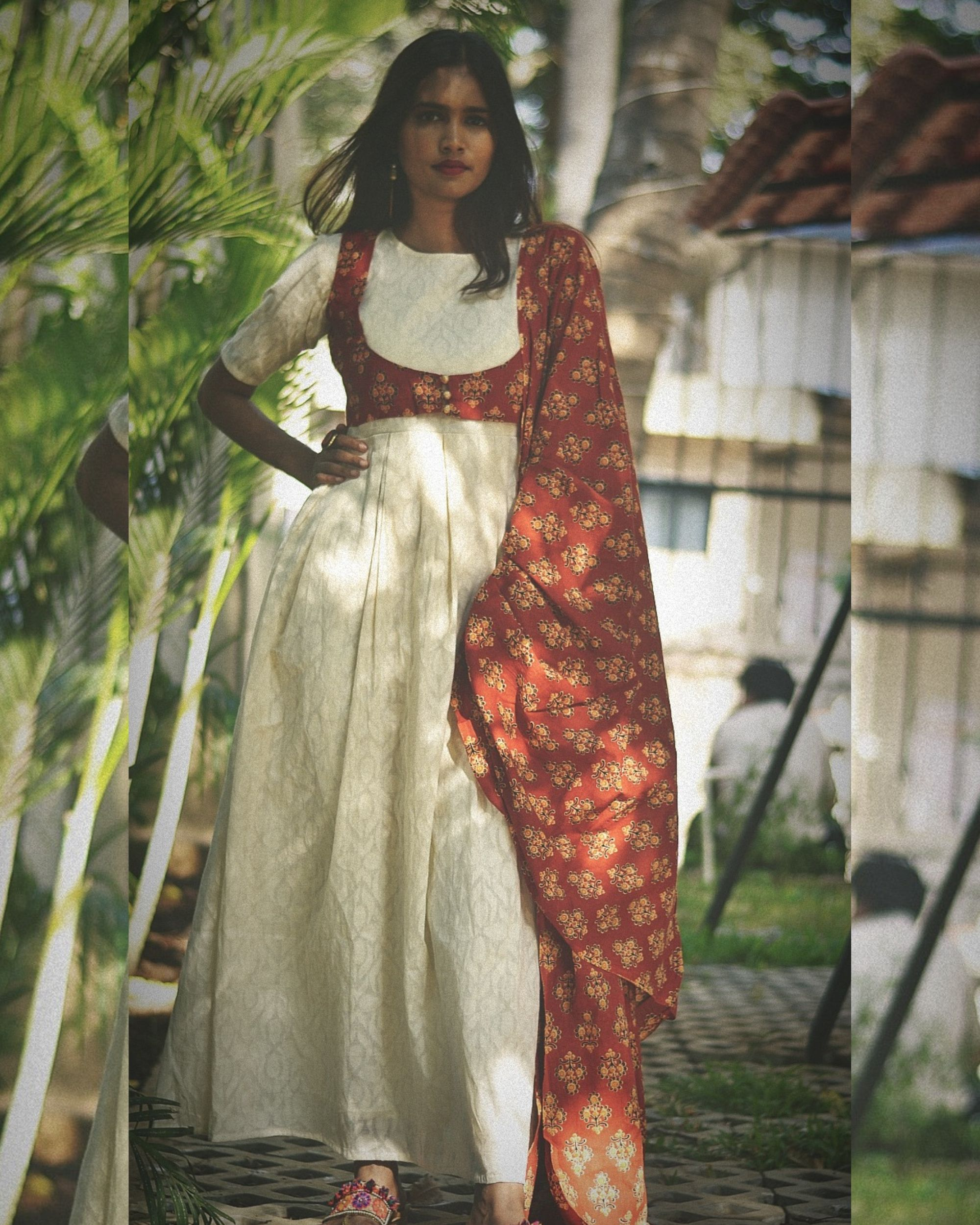 White long dress with red jacket and dupatta - set of two