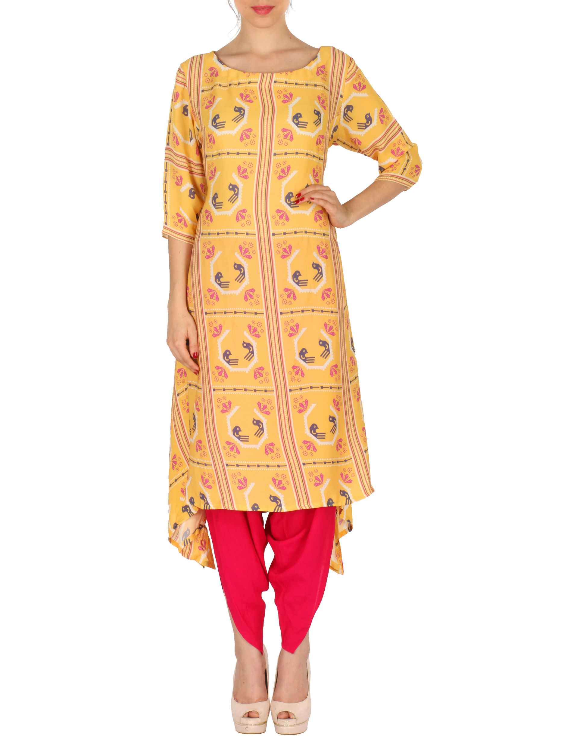 Kurta with patiala in yellow and red