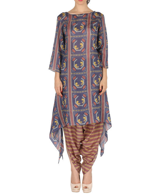 Kurta with patiala in blue and brown